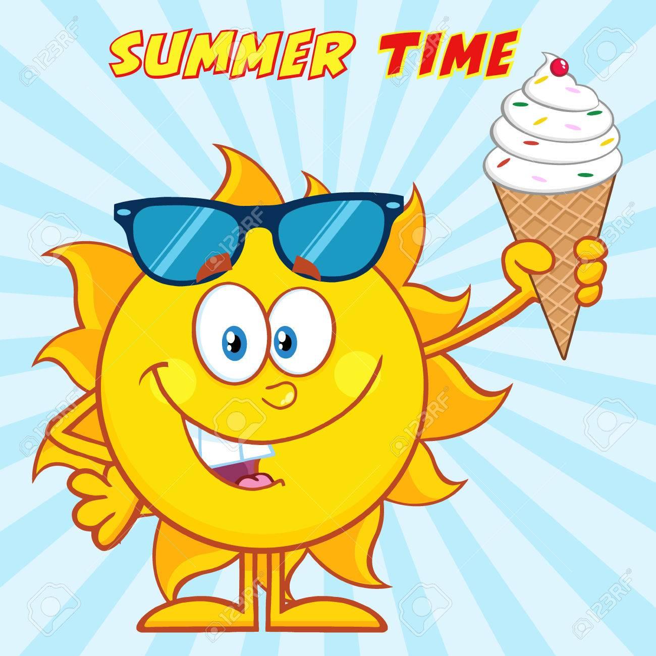 サングラスをかけたアイスクリームを保持しているかわいい太陽の漫画の