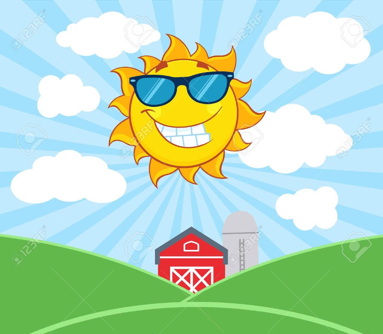 smiling sun mascot cartoon character with sunglasses illustration