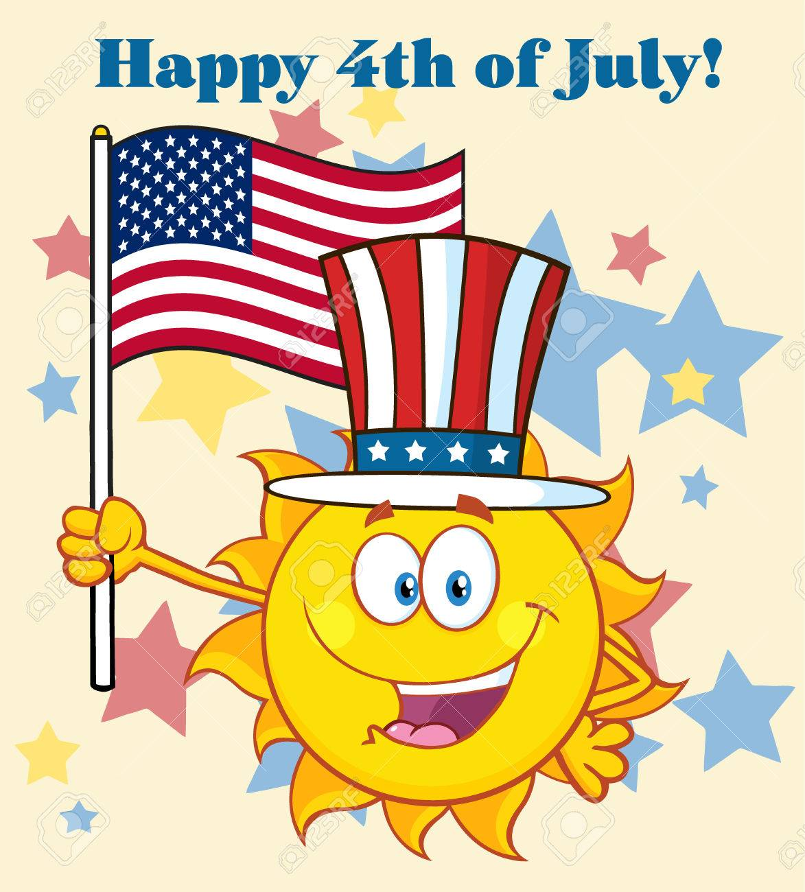 ... Happy 4th July. Cute Sun Cartoon Mascot Character With Patriotic Hat  Holding An American Flag. Illustration With Background
