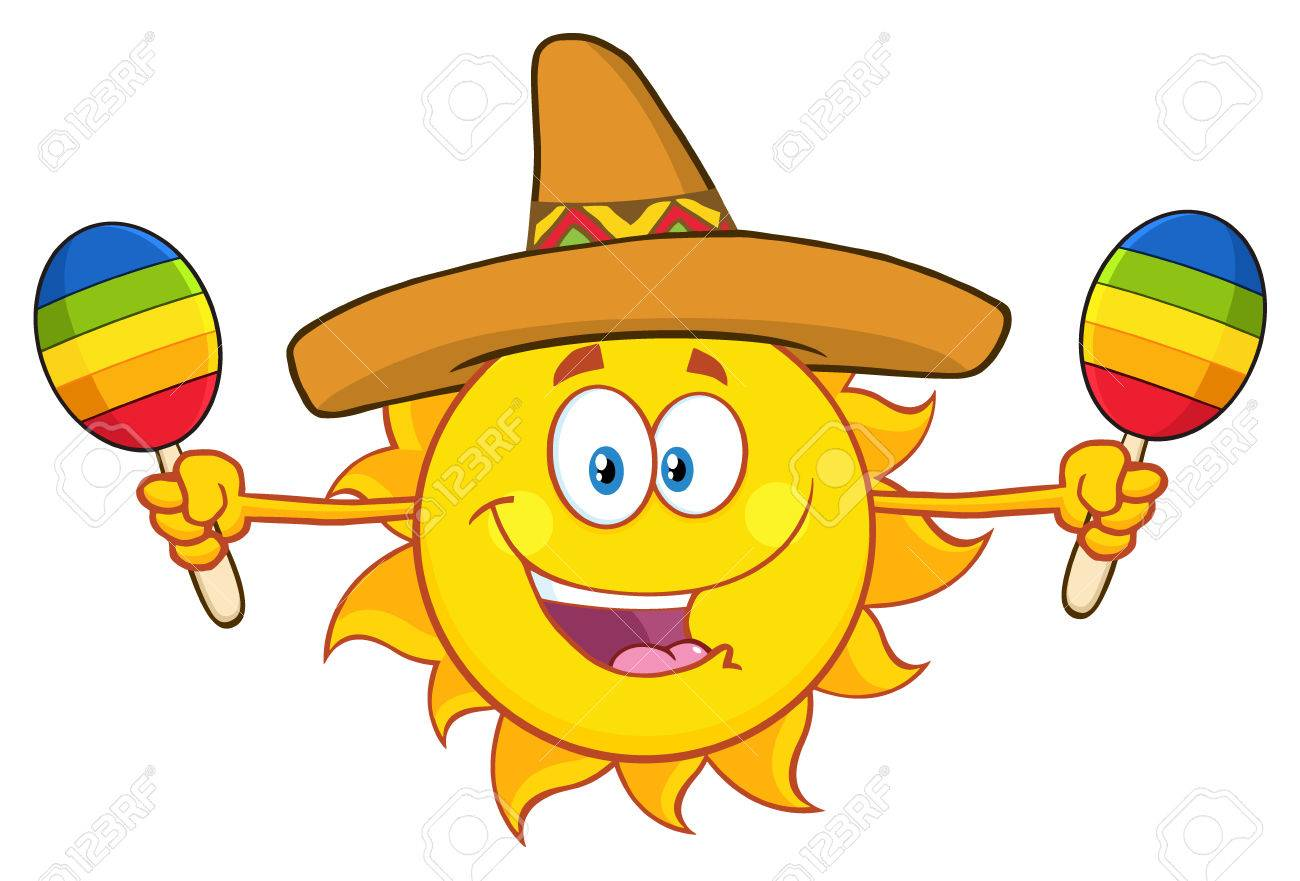 da41e372a1d Happy Colorful Sun Cartoon Mascot Character With Sombrero Hat Playing  Maracas. Illustration Isolated On White