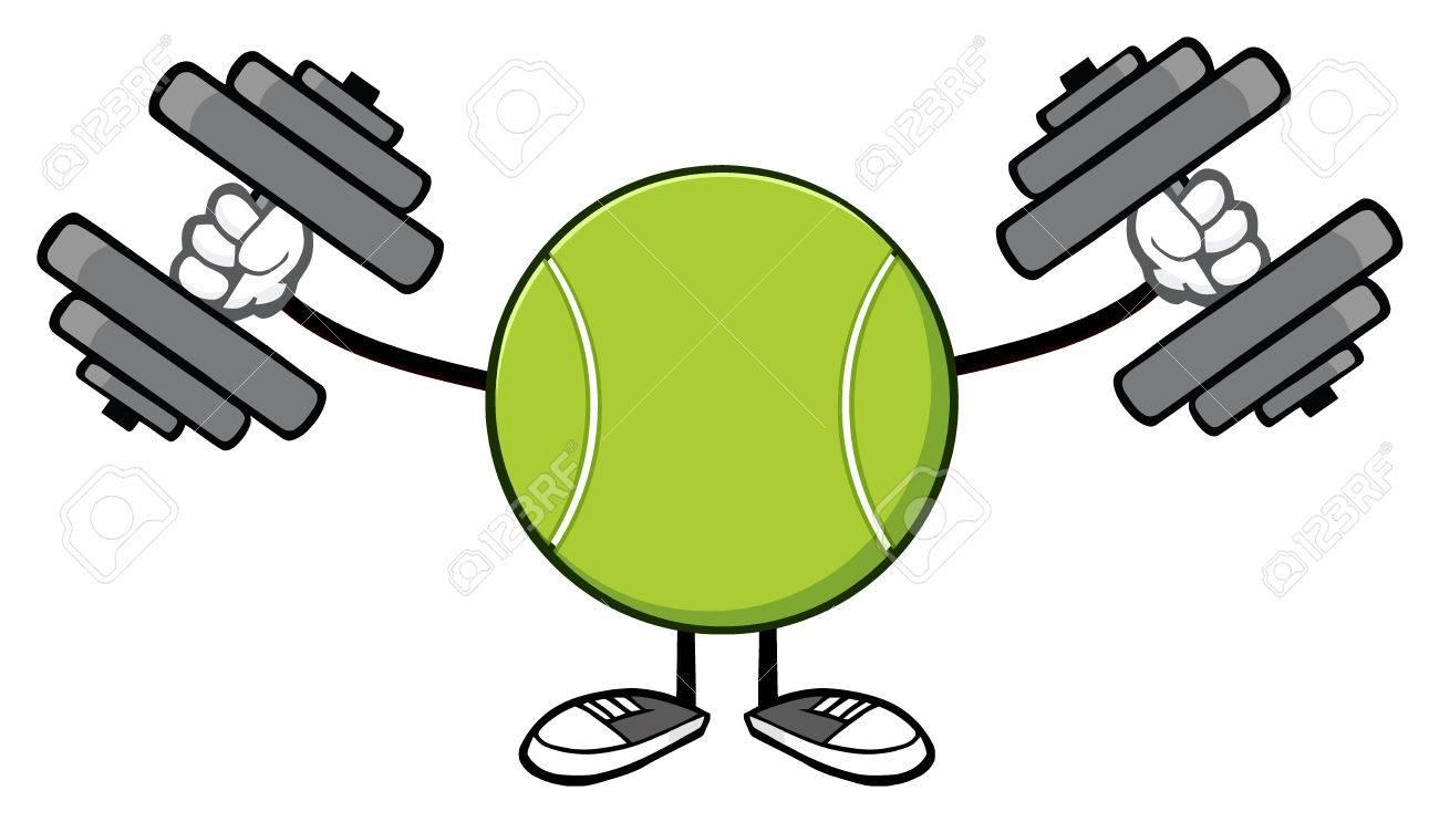 Tennis ball mascot stock photos tennis ball mascot stock photography - Stock Photo Tennis Ball Faceless Cartoon Mascot Character Working Out With Dumbbells