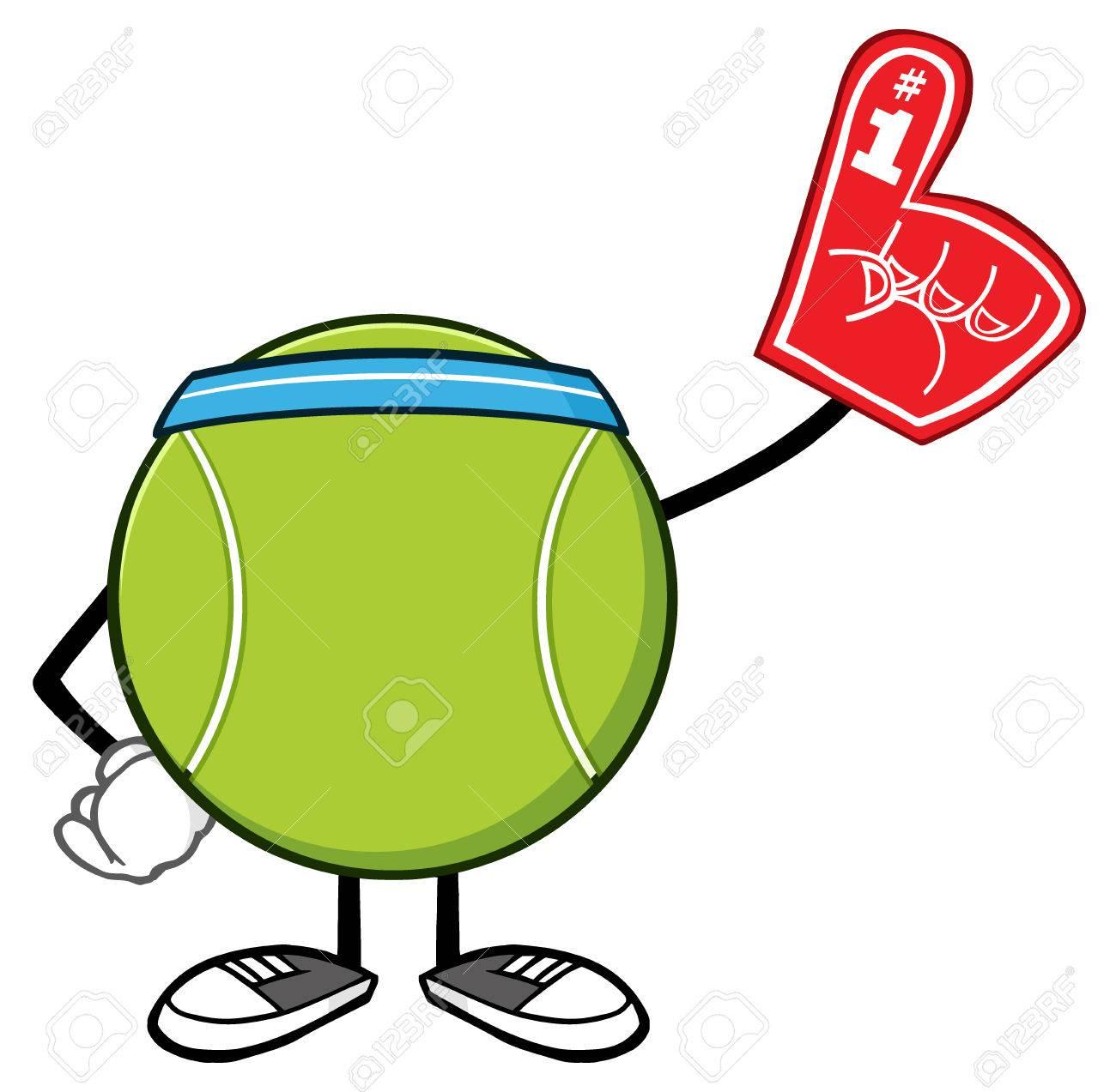 Tennis ball mascot stock photos tennis ball mascot stock photography - Stock Photo Tennis Ball Faceless Cartoon Mascot Character Wearing A Foam Finger