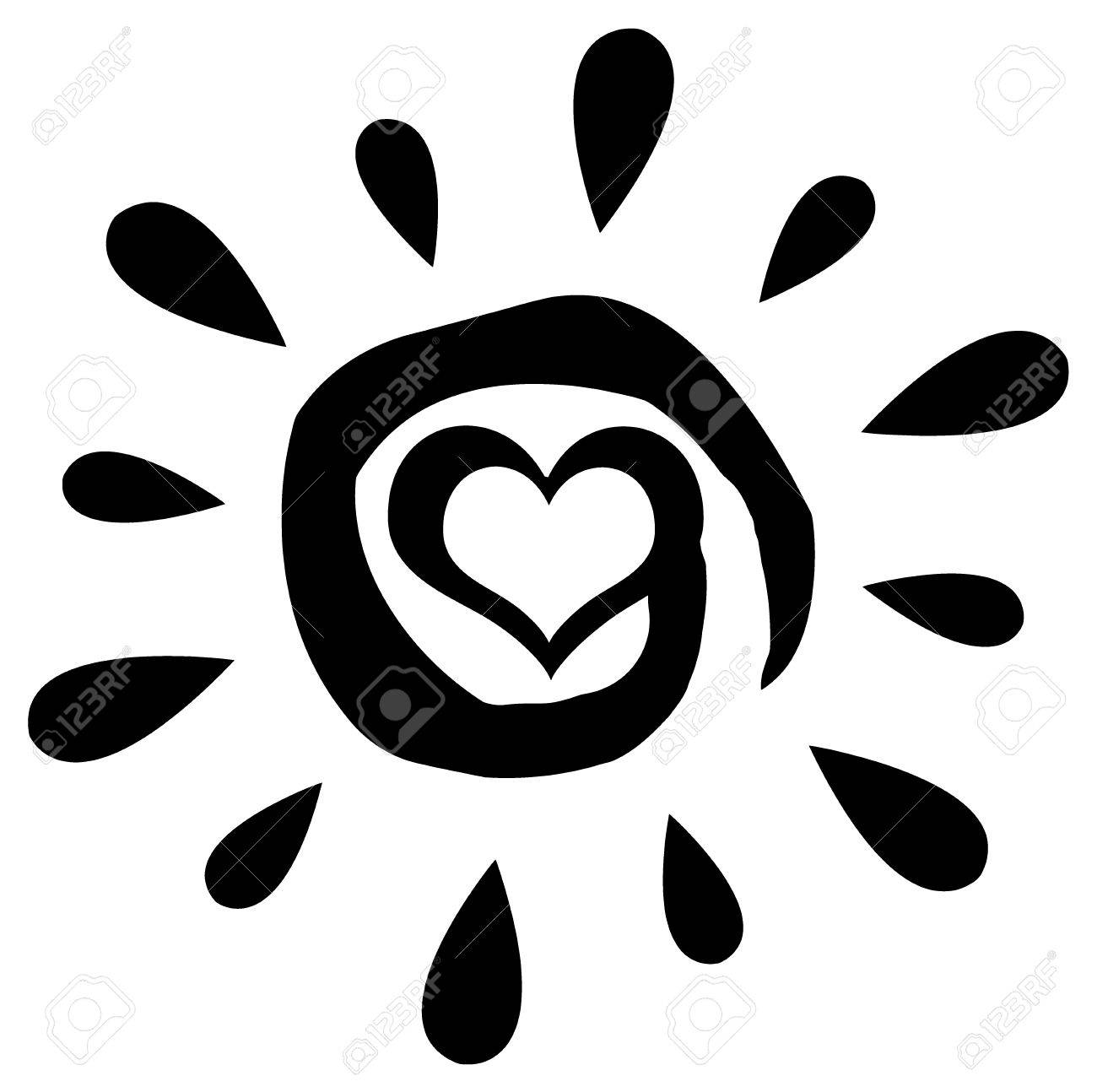 Black Abstract Sun Silhouette With Heart Simple Design Stock Photo