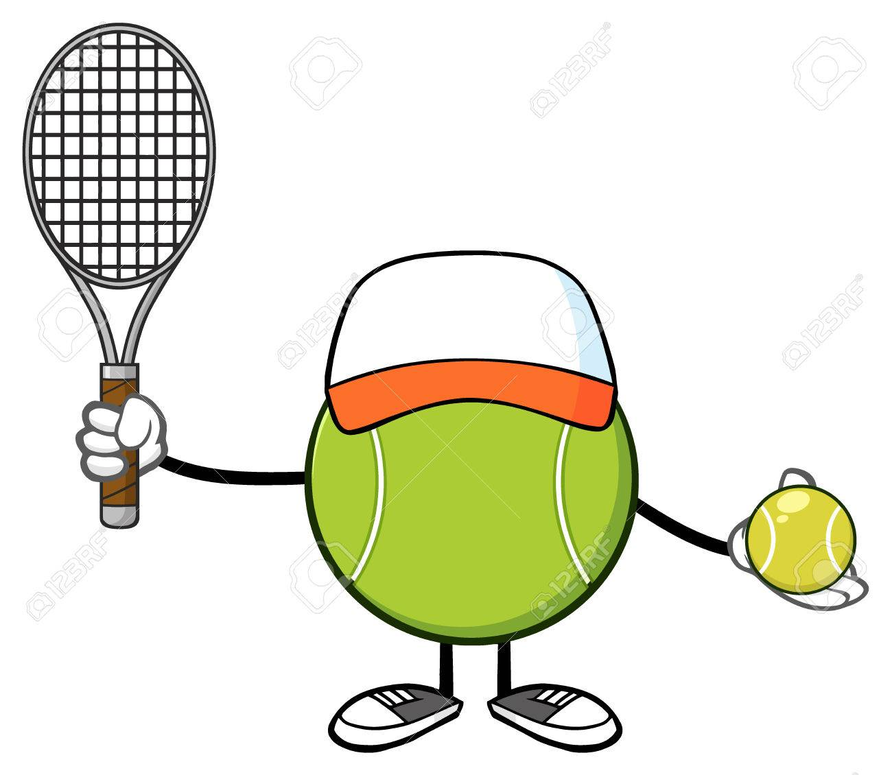 Tennis ball mascot stock photos tennis ball mascot stock photography - Stock Photo Tennis Ball Faceless Player Cartoon Mascot Character With Hat Holding A Tennis Ball And Racket