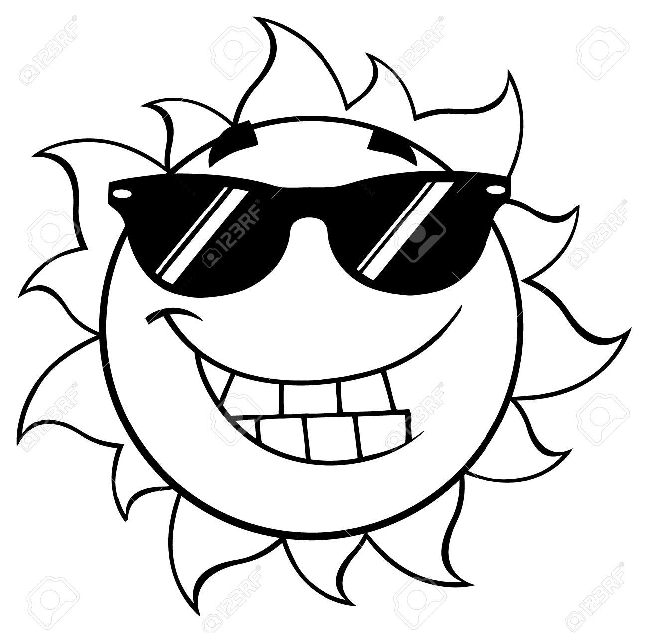 Noir Et Blanc Sourire Ete Soleil Dessin Anime Mascotte