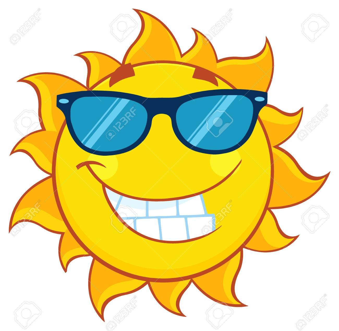 Dessin Lunettes De Soleil caractère de mascotte de dessin animé souriant de soleil avec