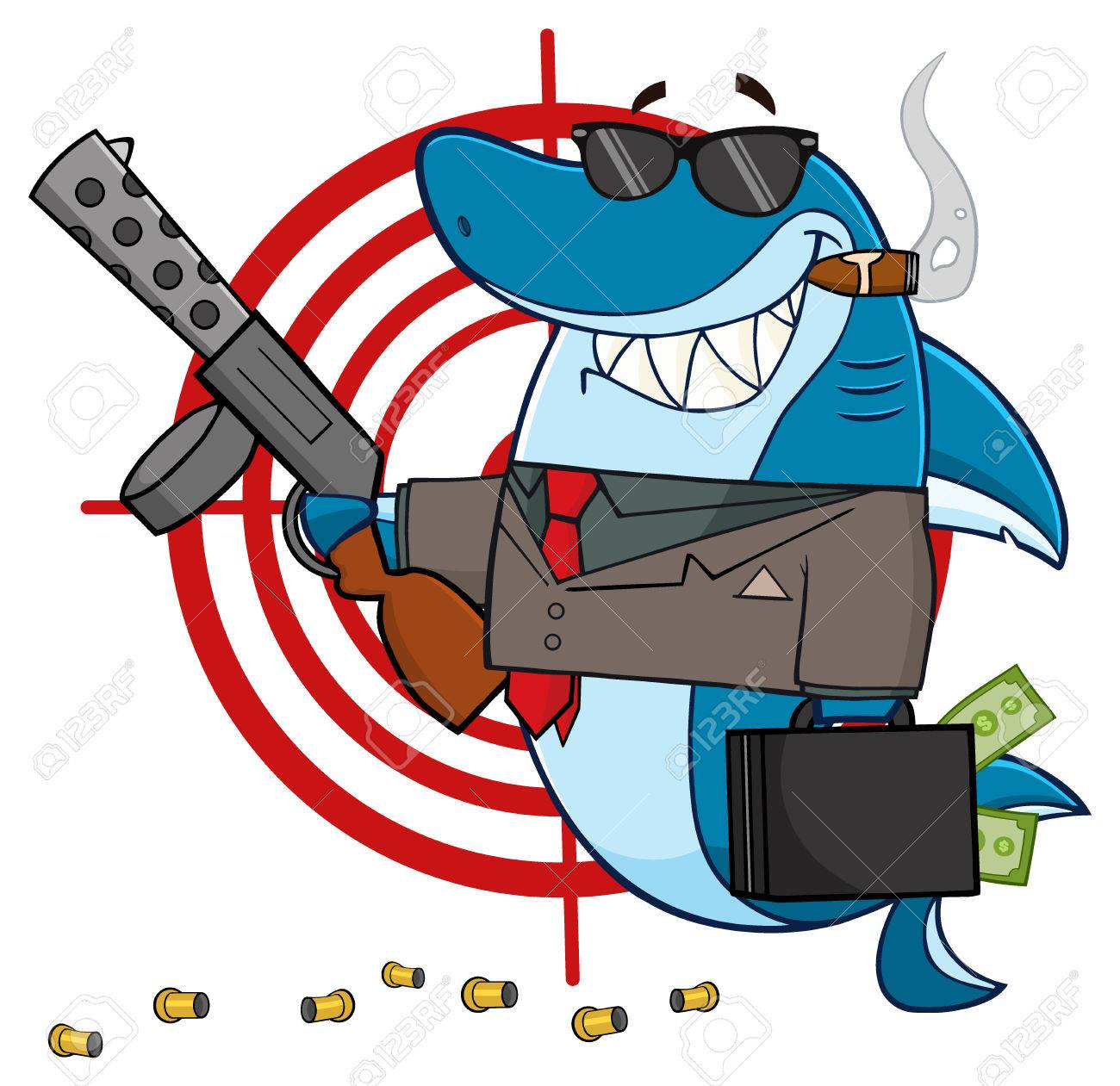 smiling shark mobster cartoon mascot character carrying a briefcase
