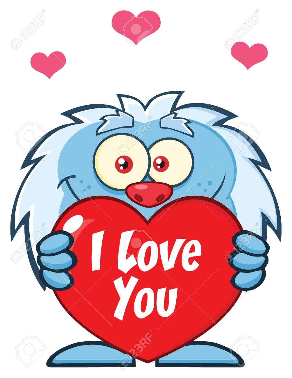 Cute Little Yeti Cartoon Mascot Character Holding A Valentine Love Heart.  Illustration Isolated On White