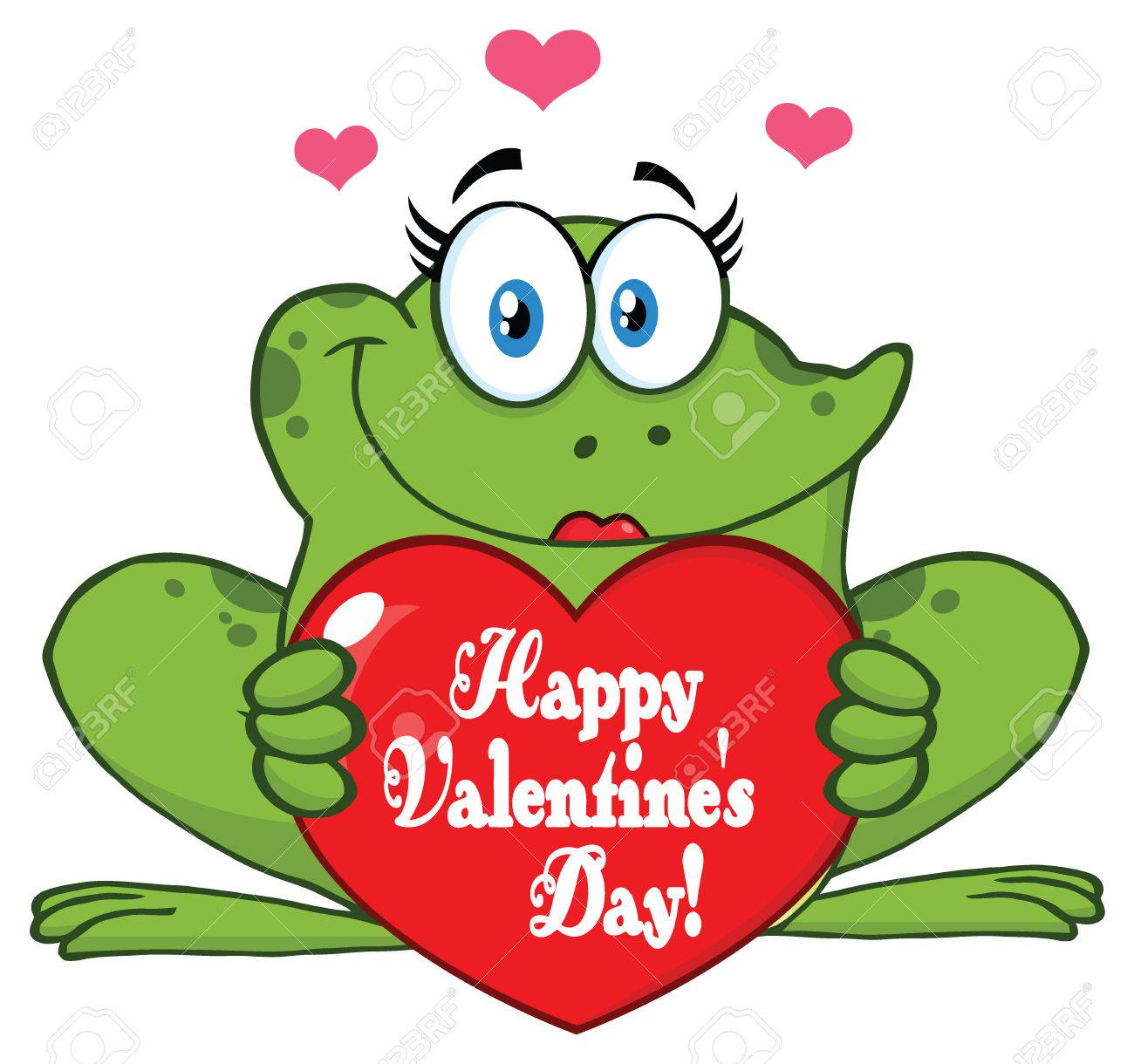 Frog Female Cartoon Mascot Character Holding A Valentine Love
