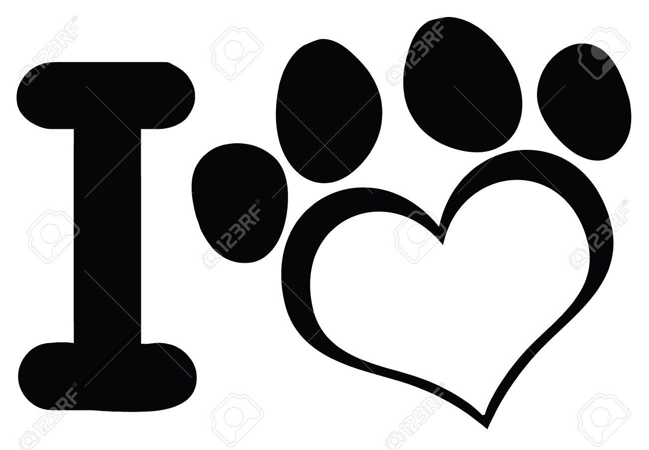 i love dog with black heart paw print logo design illustration rh 123rf com paw print logos and names paw print logos and names