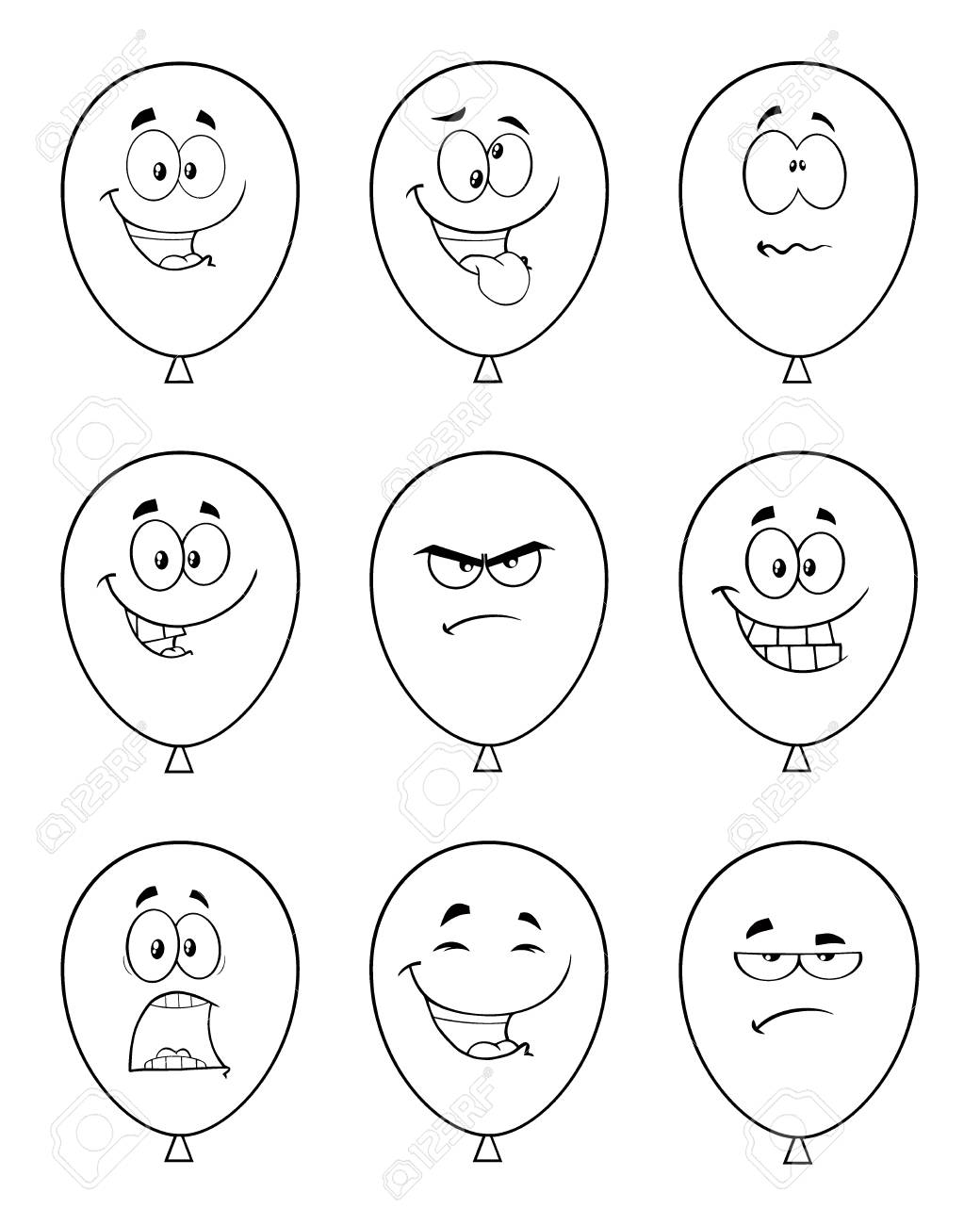 Globos Blanco Y Negro Personaje De Mascota De Dibujos Animados Con Expresiones Colección Conjunto Aislado Sobre Fondo Blanco