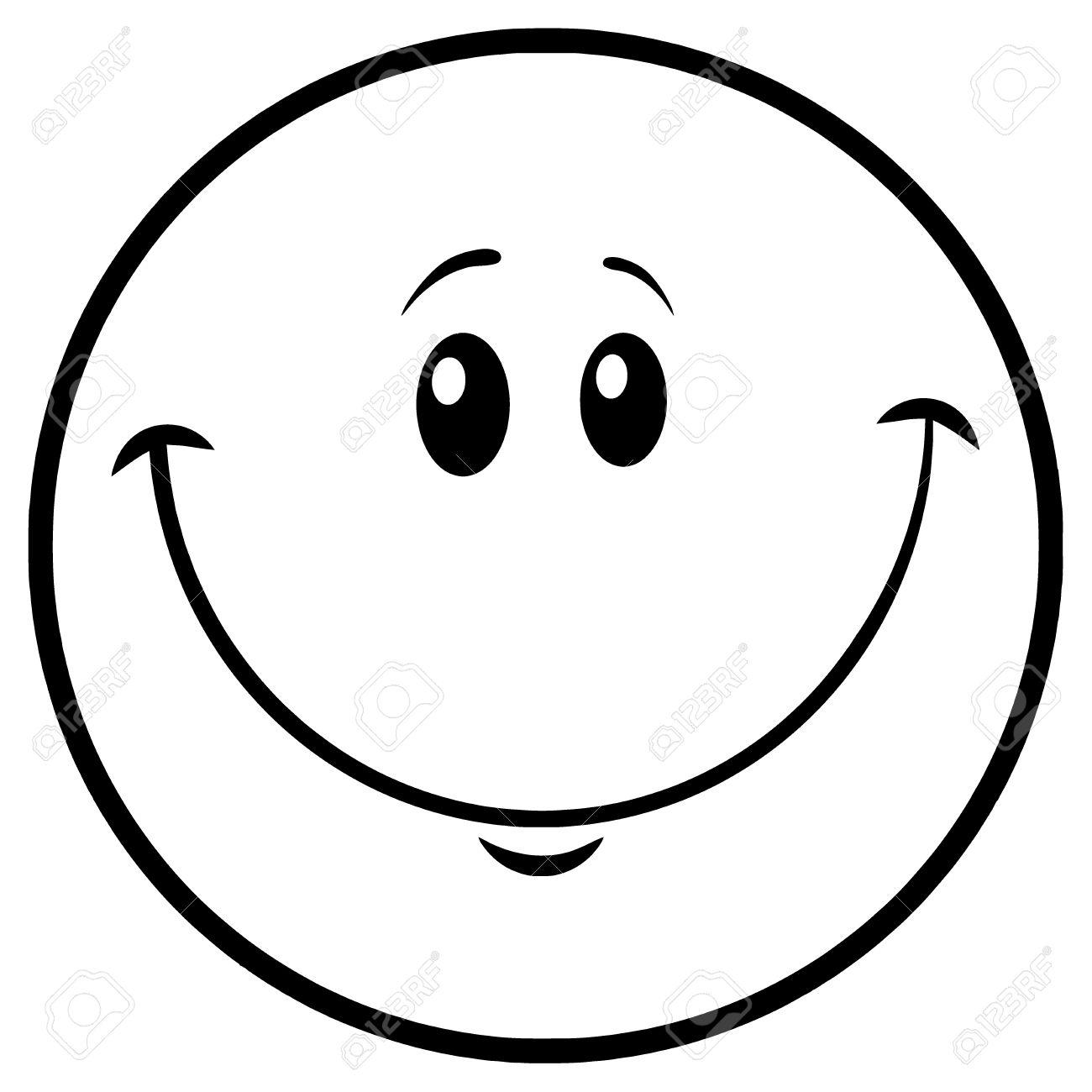 Personaje De Dibujos Animados Sonriente Blanco Y Negro De La Cara Ilustración Aislada Sobre Fondo Blanco Fotos Retratos Imágenes Y Fotografía De Archivo Libres De Derecho Image 74264757