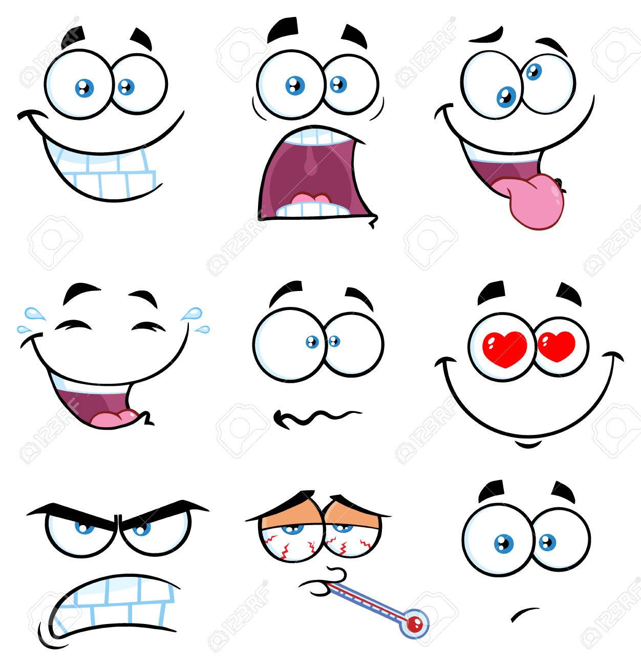 Cartoon Funny Face With Expression Set 2 Collection Isolated