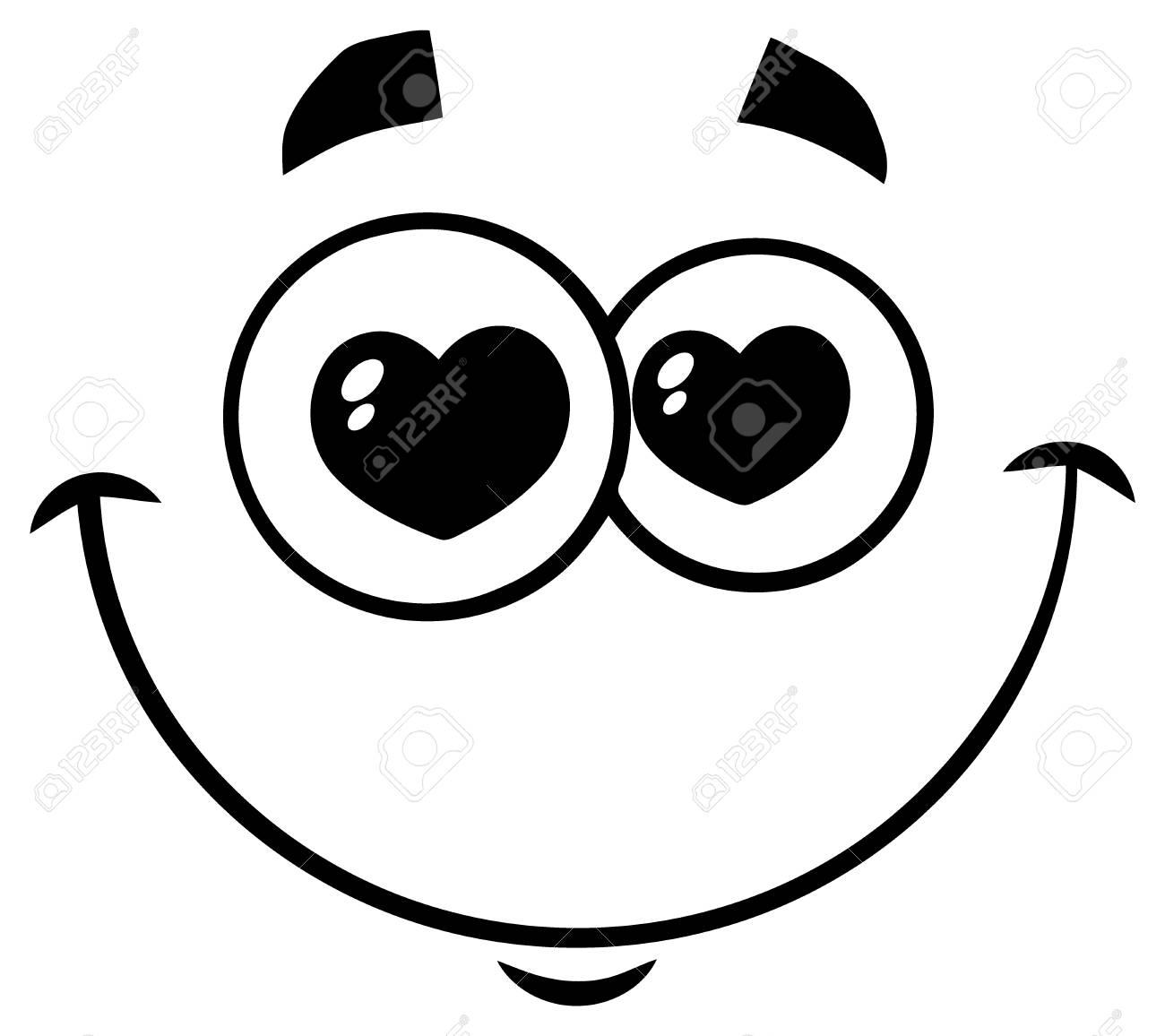 Noir Et Blanc Sourire Amour Dessin Animé Visage Drôle Avec Une Expression Des Yeux Aux Coeurs Illustration Isolée Sur Fond Blanc
