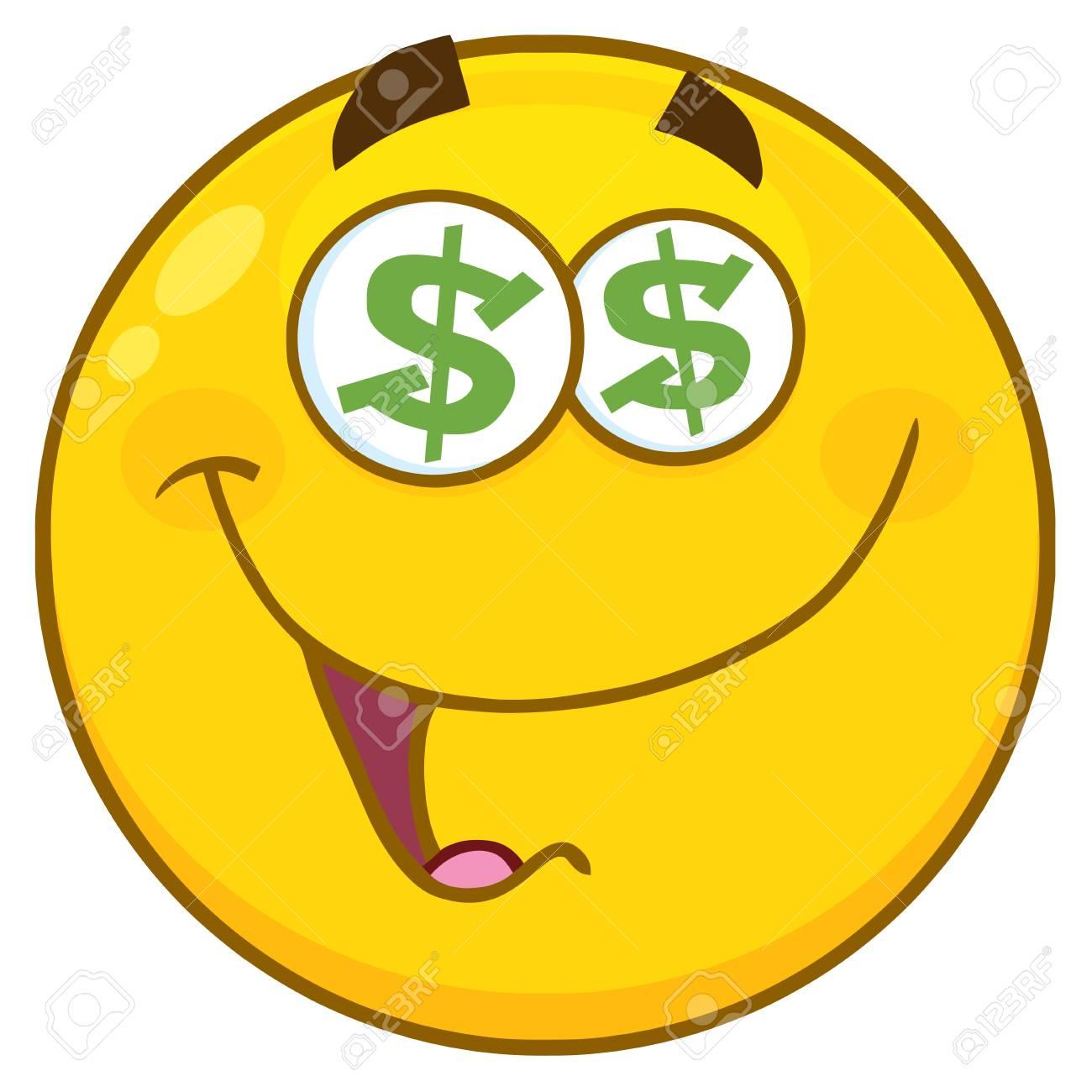 Jaune Personnage Smiley Personnage De Bande Dessinee Avec Des Yeux De Dollar Illustration Isole Sur Fond Blanc Banque D Images Et Photos Libres De Droits Image 77462133
