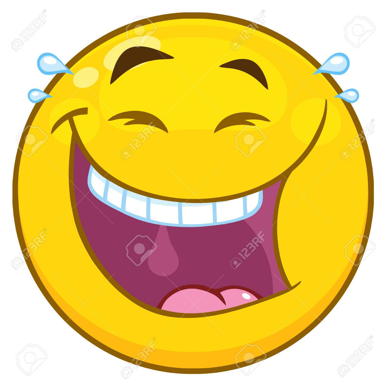 happy yellow cartoon emoji face character with laughing expression rh 123rf com free cartoon laughing faces clip art laughing cartoon face vector