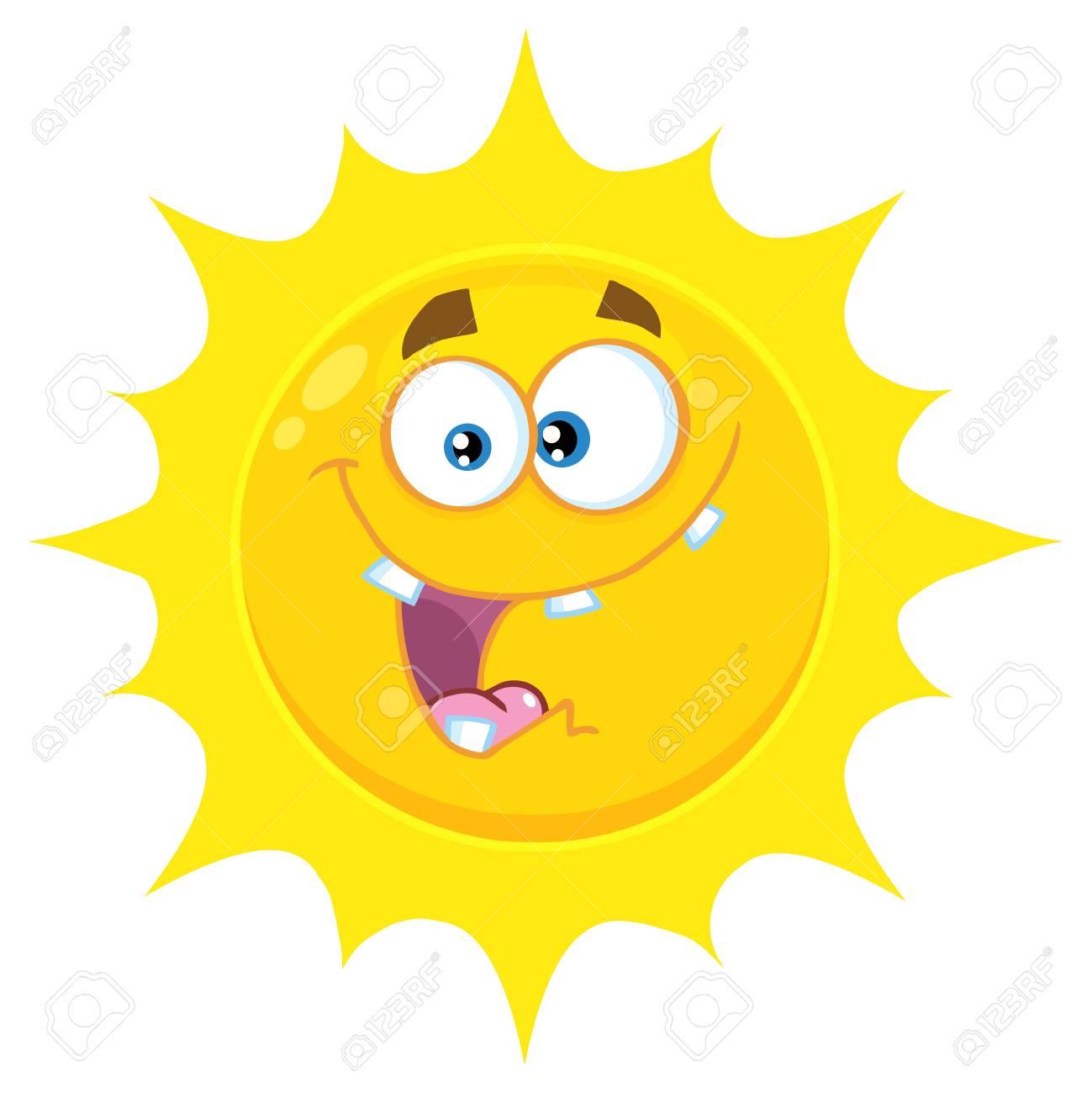Banque dimages personnage de visage emoji cartoon fou jaune soleil avec lexpression illustration isolé sur fond blanc