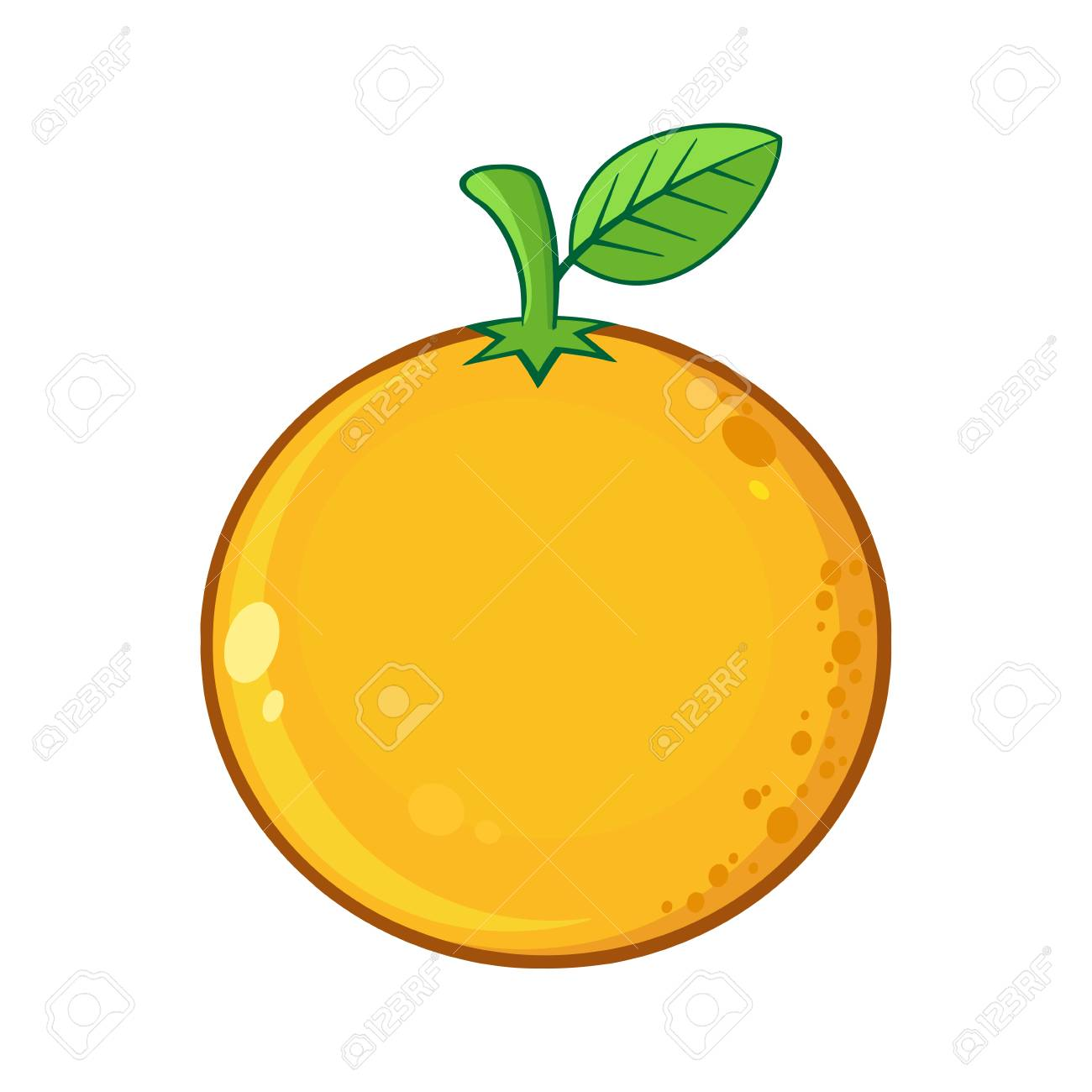 Orange Fresh Fruit With Green Leaf Cartoon Drawing. Illustration ... for Drawing Orange Fruit  289hul