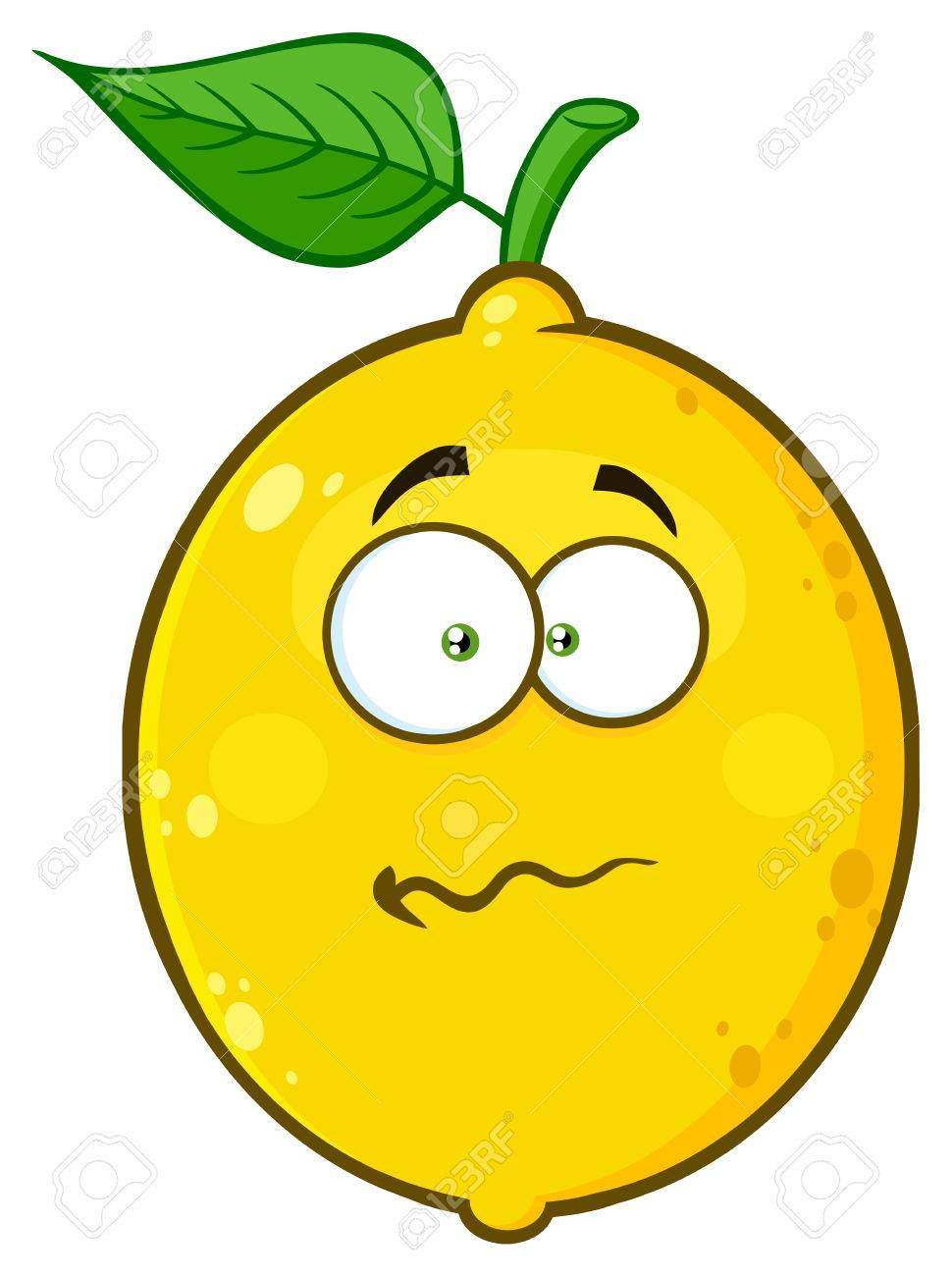 nervous yellow lemon fruit cartoon emoji face character with stock rh 123rf com Confused Student Cartoon Confused Student Cartoon