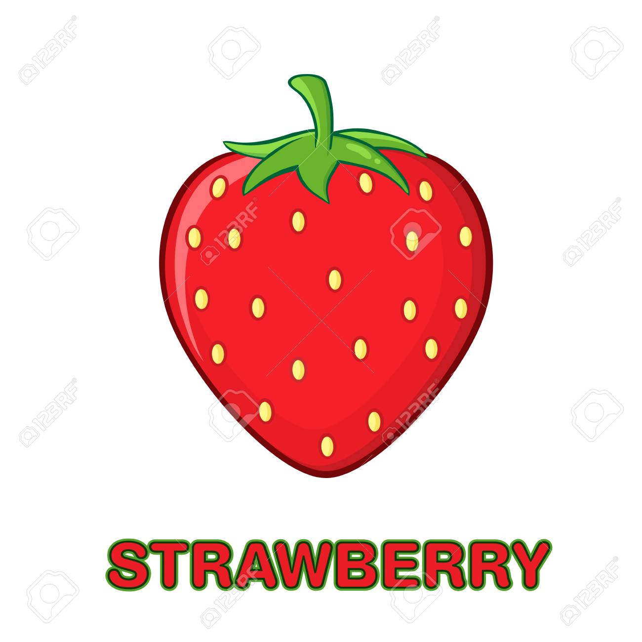 Dessin De Dessin Anime De Fraise Fruits Simple Design