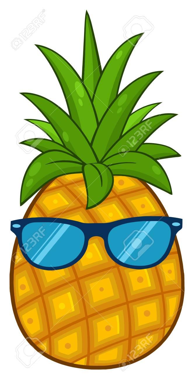 Fruit D Ananas Avec Dessin De Dessin Animé De Feuilles Vertes Design Simple Avec Des Lunettes De Soleil Illustration Isolé Sur Fond Blanc