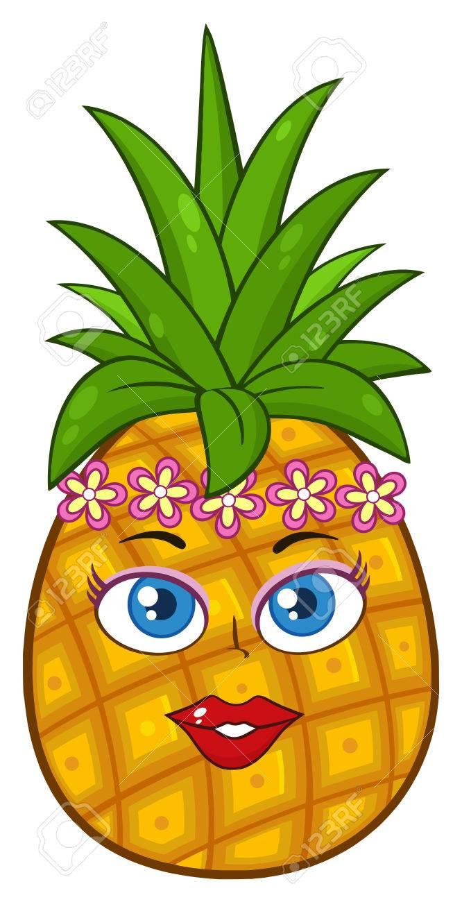 Pineapple fruit cartoon mascot character woman face with hawaiian illustration pineapple fruit cartoon mascot character woman face with hawaiian flower lei garland wreath illustration isolated on white background izmirmasajfo Gallery