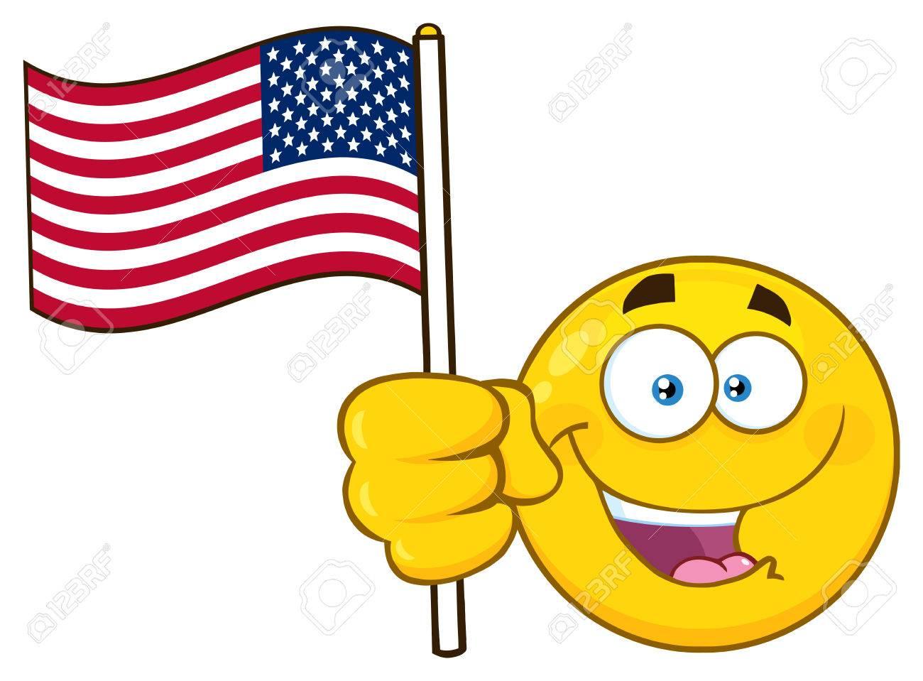 patriotic yellow cartoon emoji face character waving an american rh 123rf com Thumbs Up Emoji Thumbs Up Funny Face