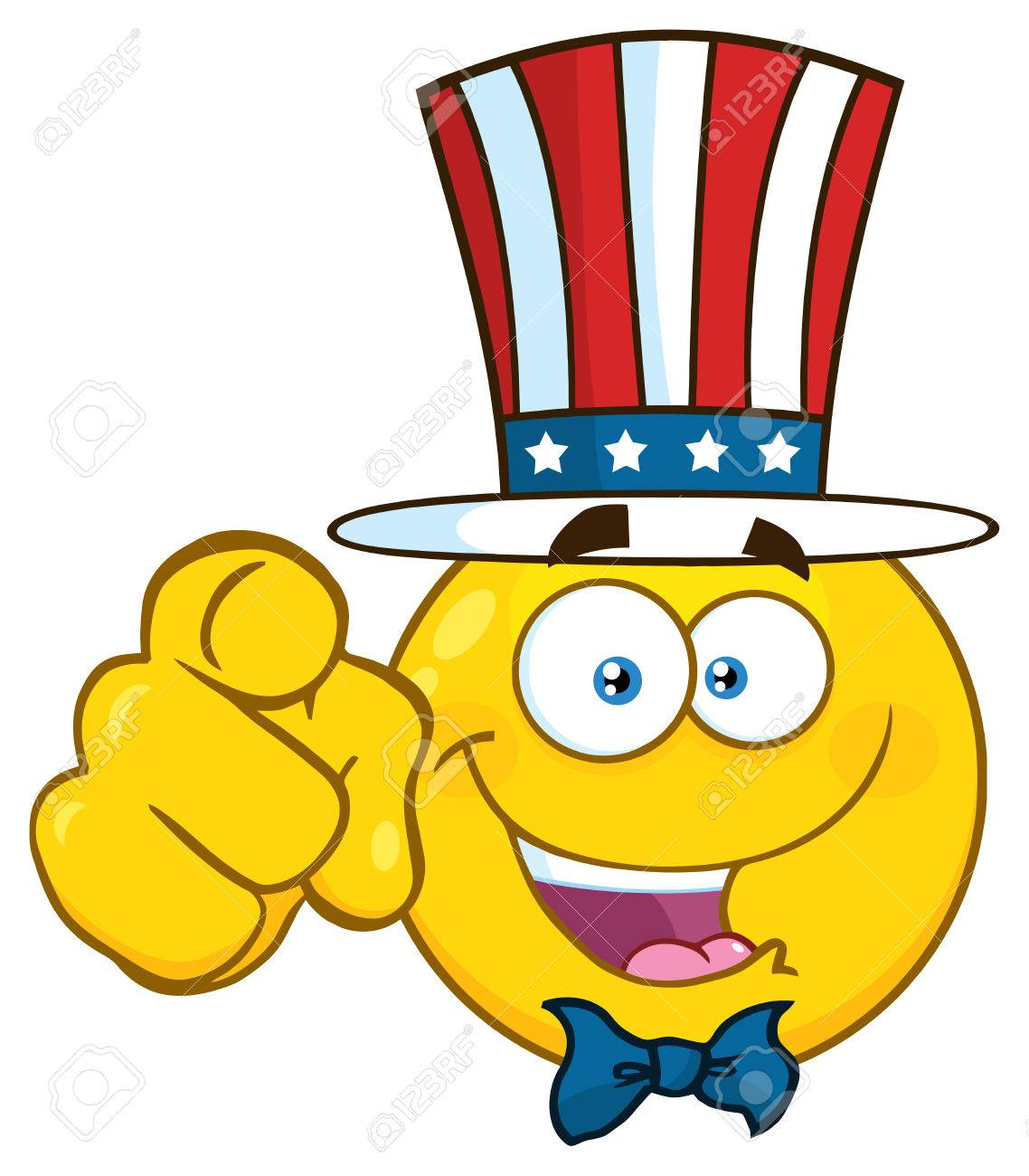Happy Patriotic Yellow Cartoon Emoji Face Character Wearing A ...