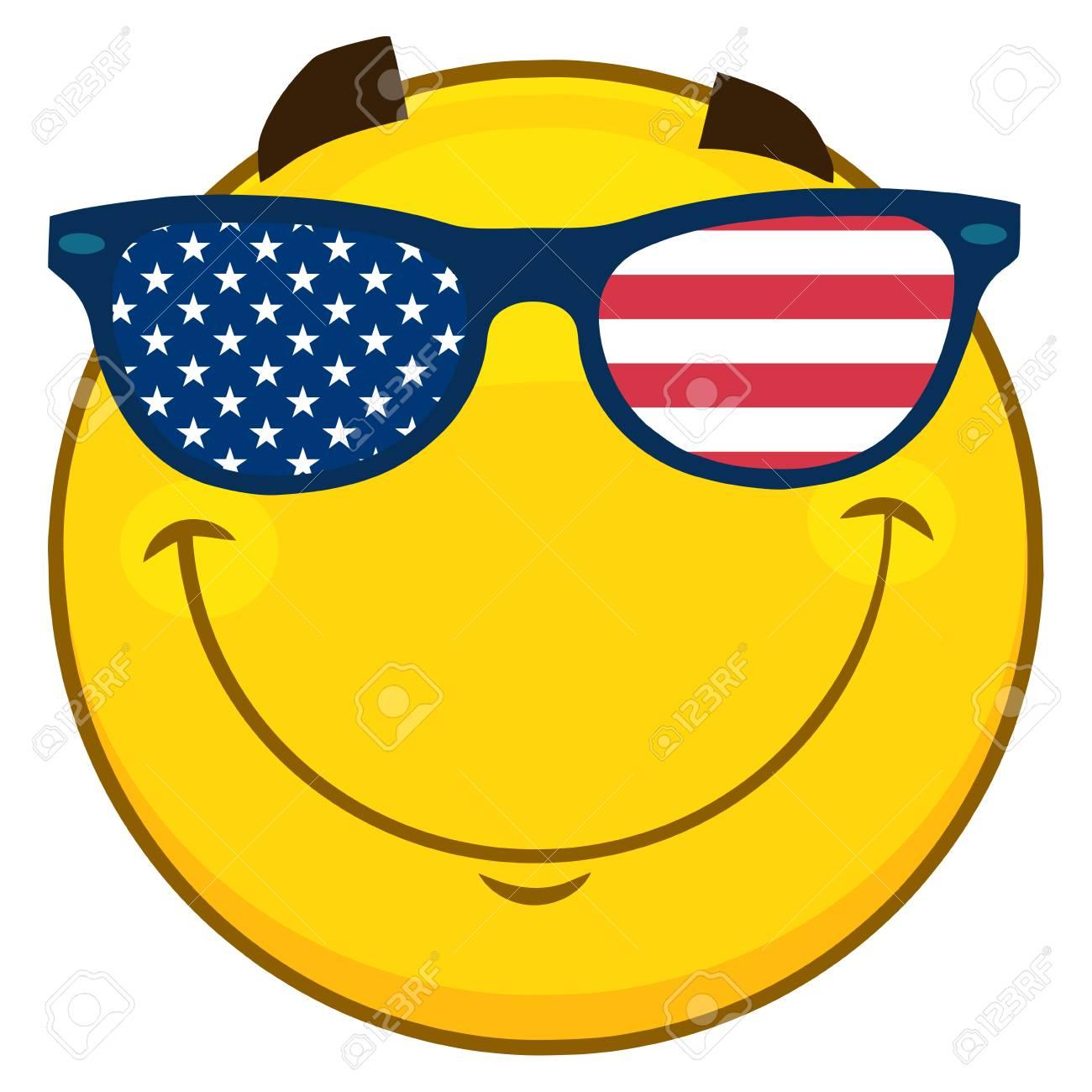 Patriótico Con Emoji Cara Sonriendo Amarillo Caricatura Personaje F1JTclK3