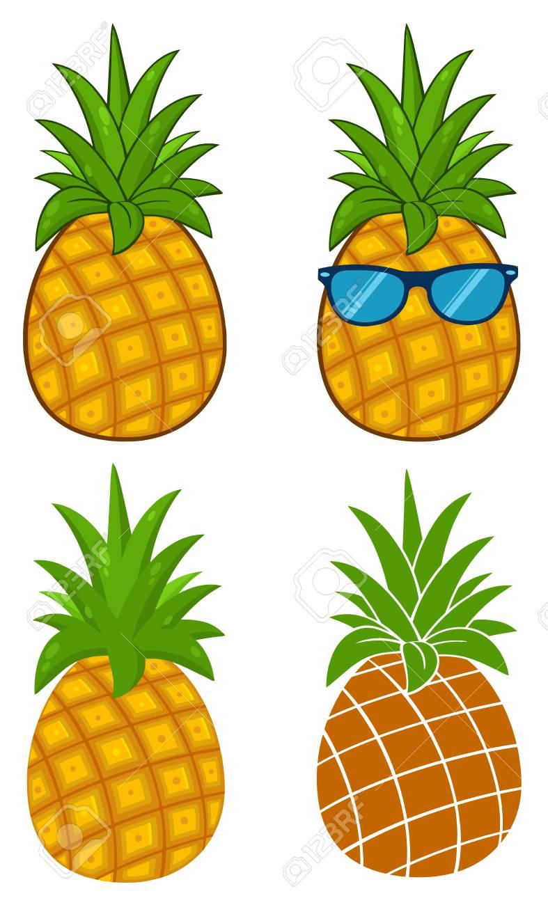 Fruit Dananas Avec Dessin De Dessin Animé De Feuilles Vertes Série De Design Simple Dessin 1 Collection Isolé Sur Fond Blanc