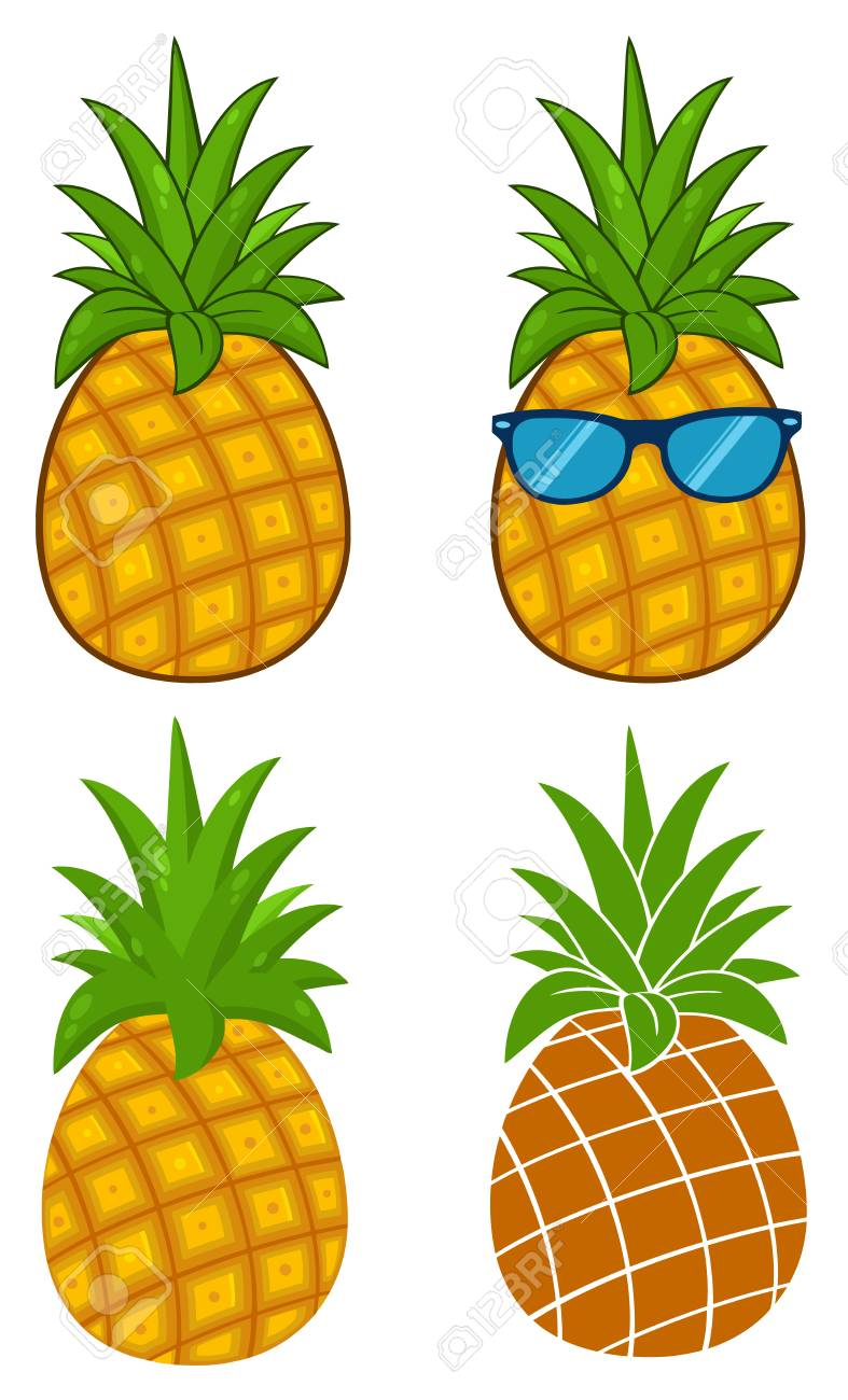 Pineapple Fruit With Green Leafs Cartoon Drawing Simple Design