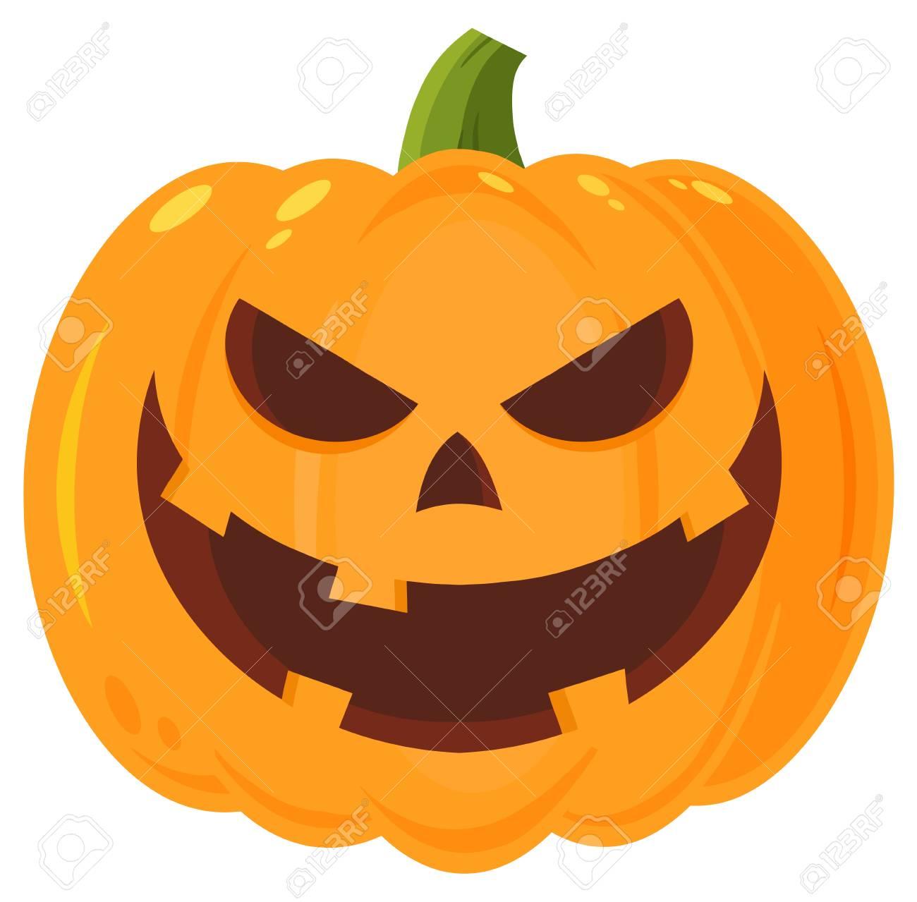 grinning evil halloween pumpkin cartoon emoji face character stock