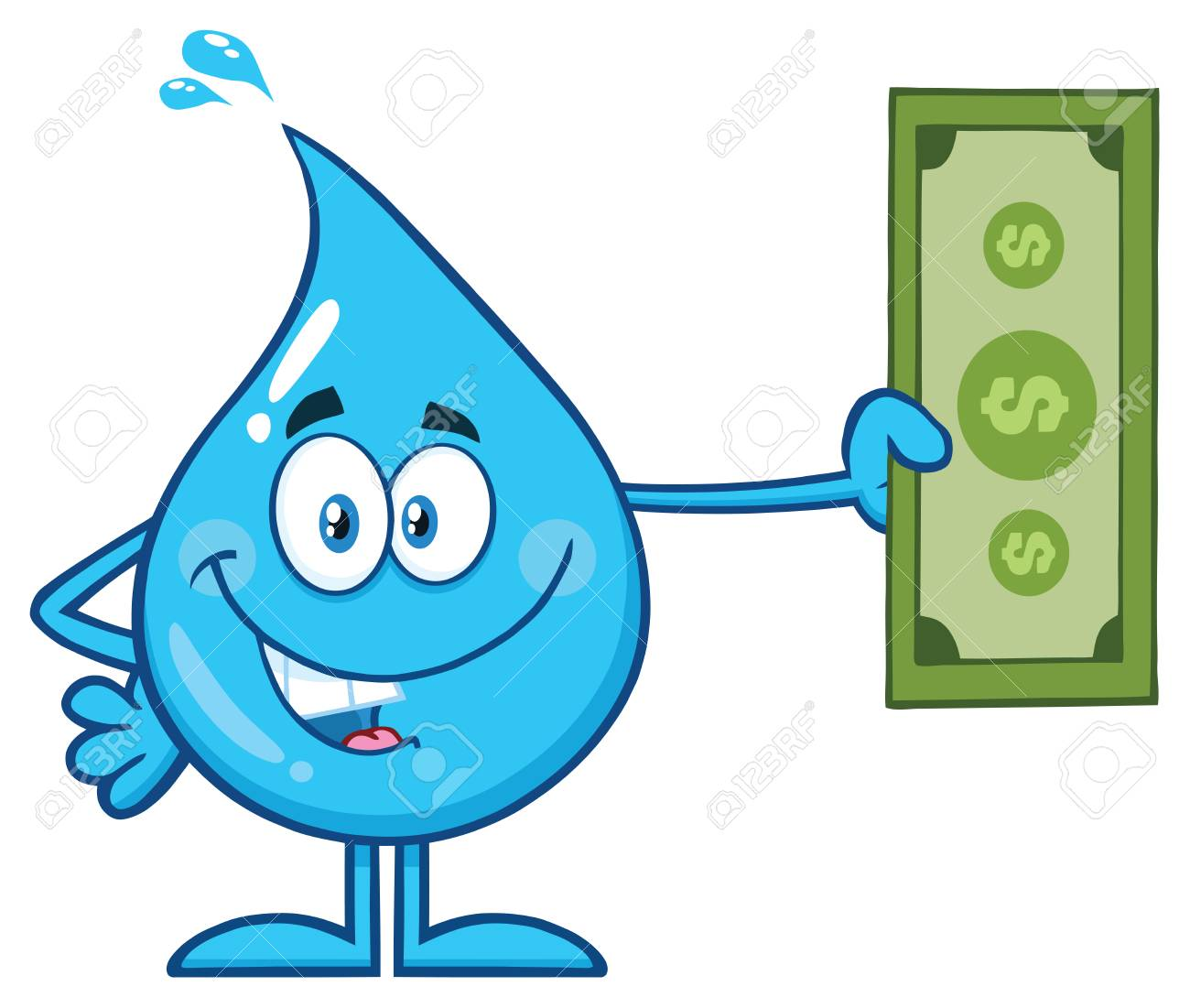 Blue Water Drop Cartoon Mascot Character Holding A Dollar Bill Vector Il Ration Isolated On White