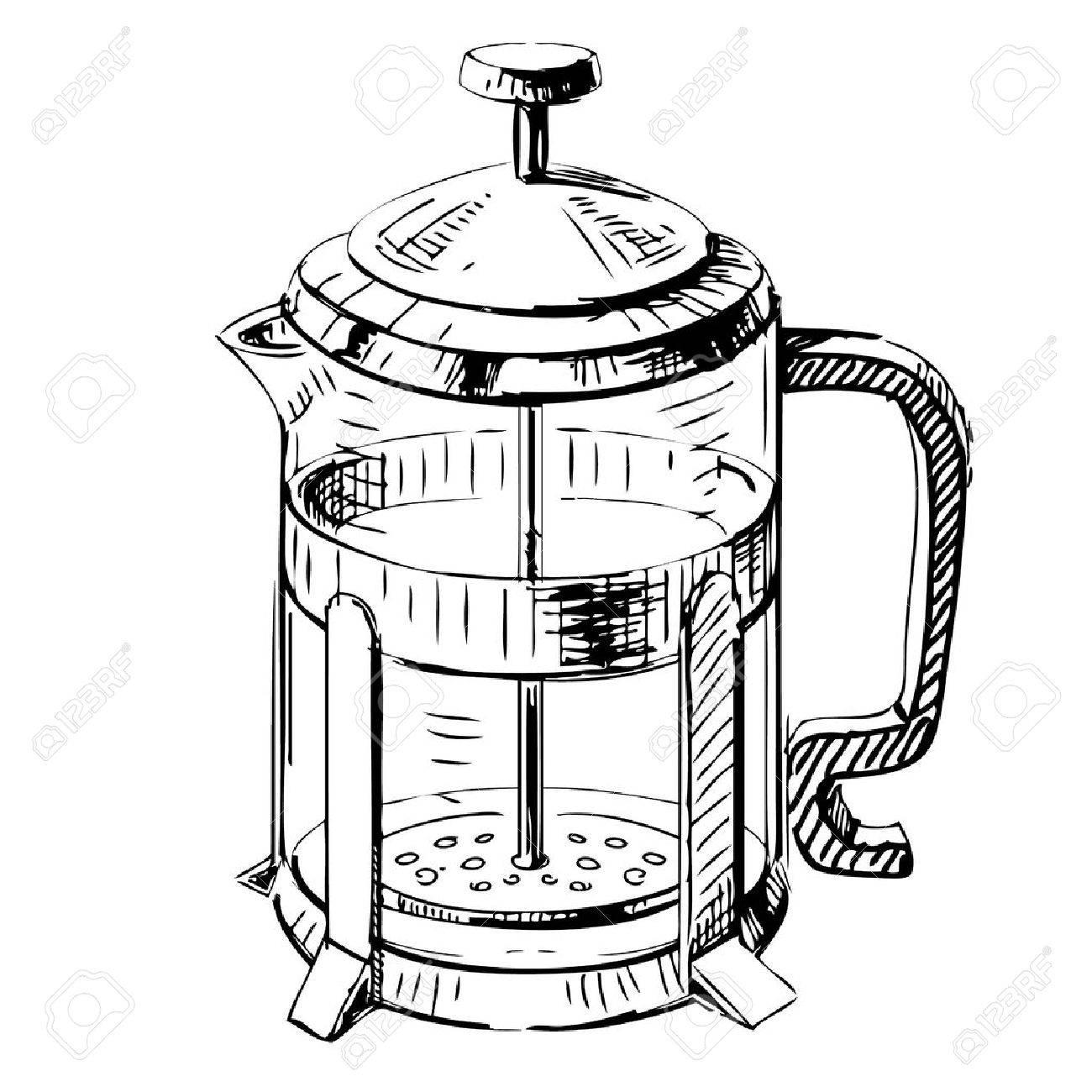 French press tea pot Stock Vector - 18010719