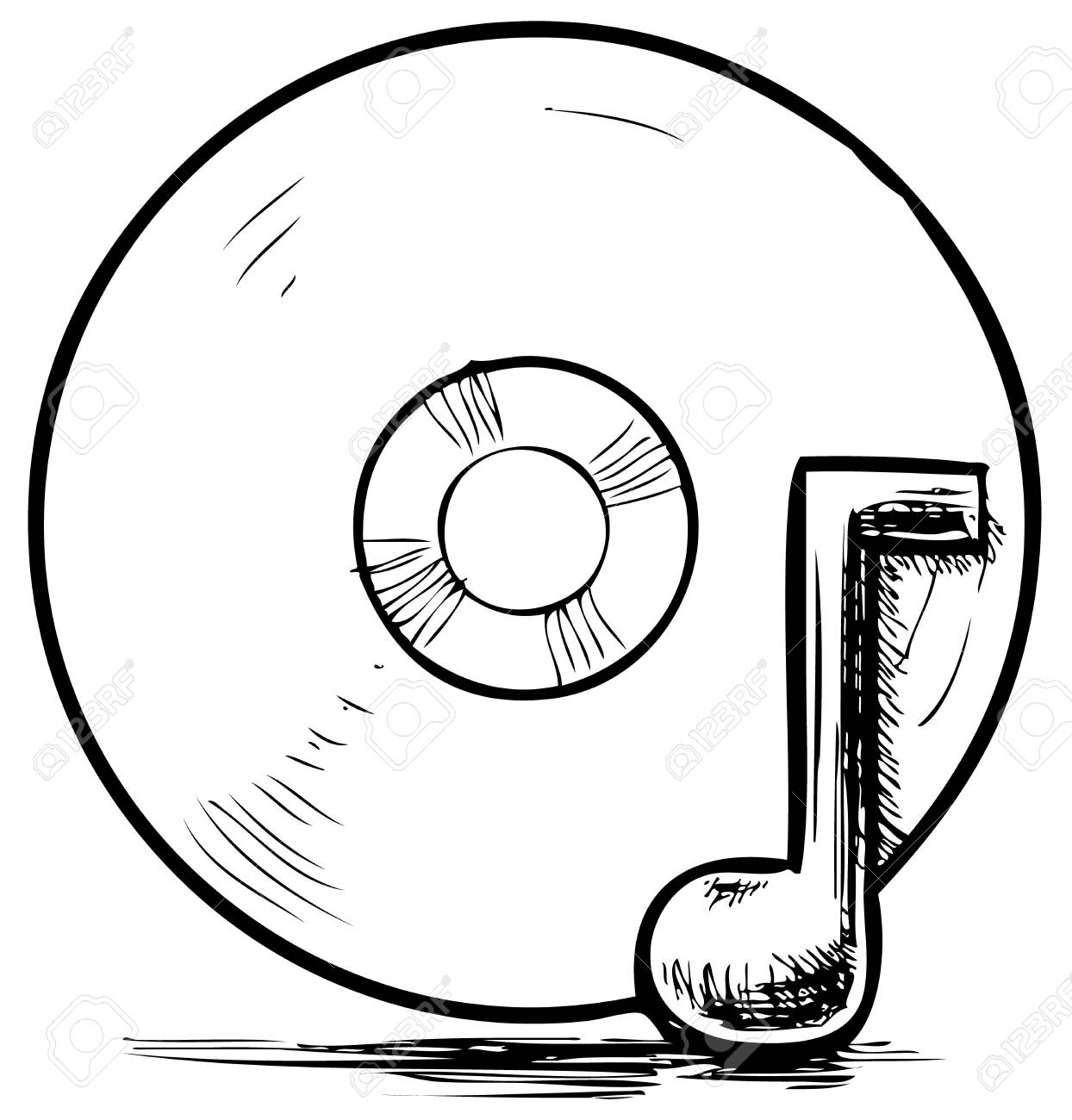 Cd and music note Stock Vector - 18010369