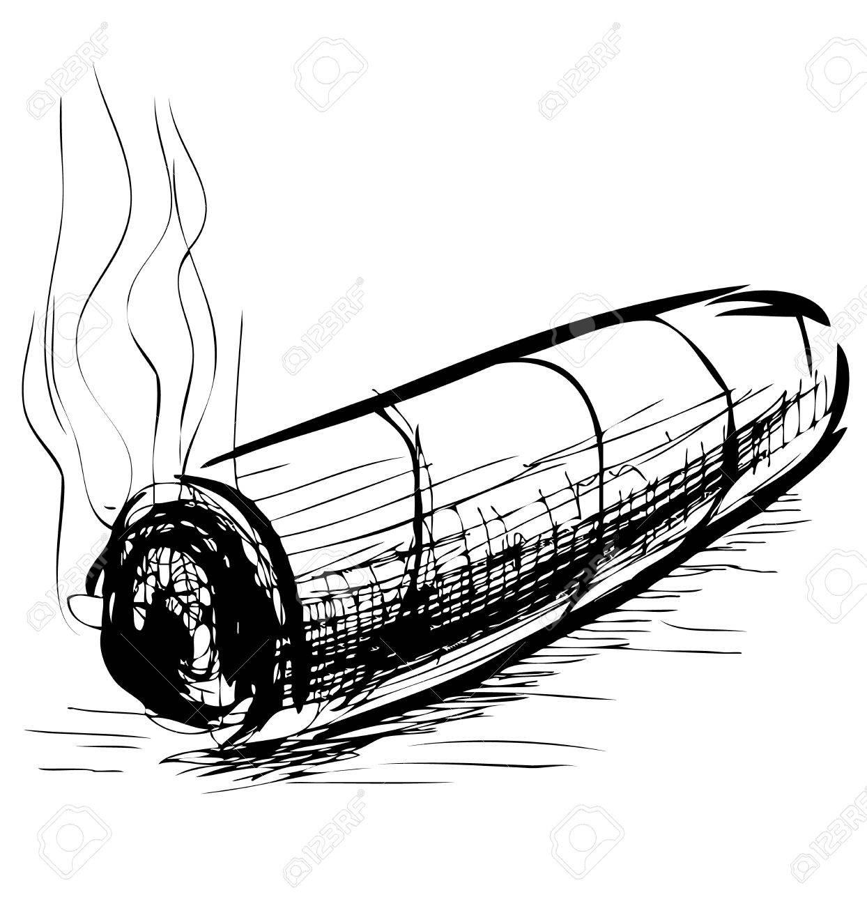 Lighting cigar sketch vector illustration Stock Vector - 18031104