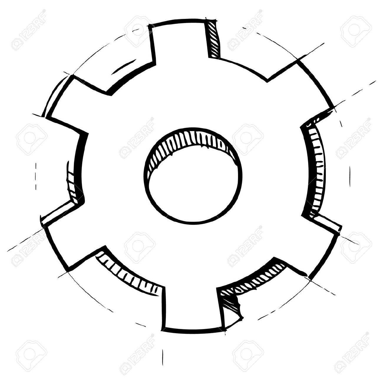 Hand drawn gear Stock Vector - 18031117