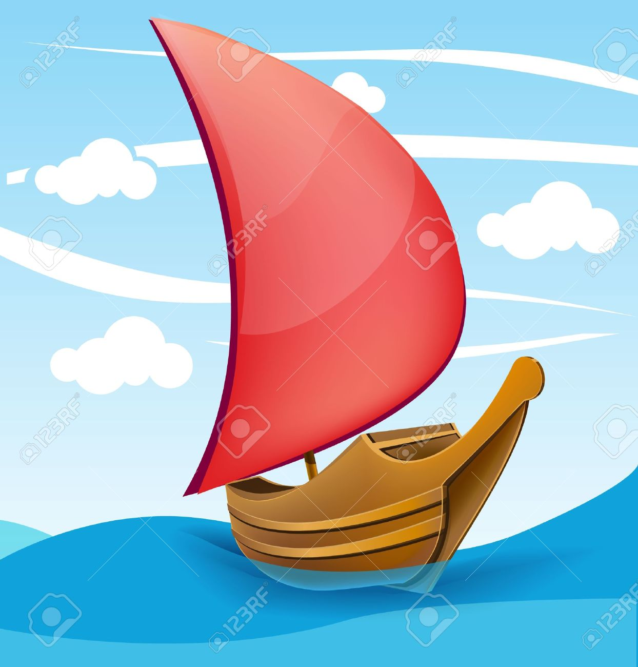 Romantic boat with red sail on a cloudy background Stock Vector - 18269528