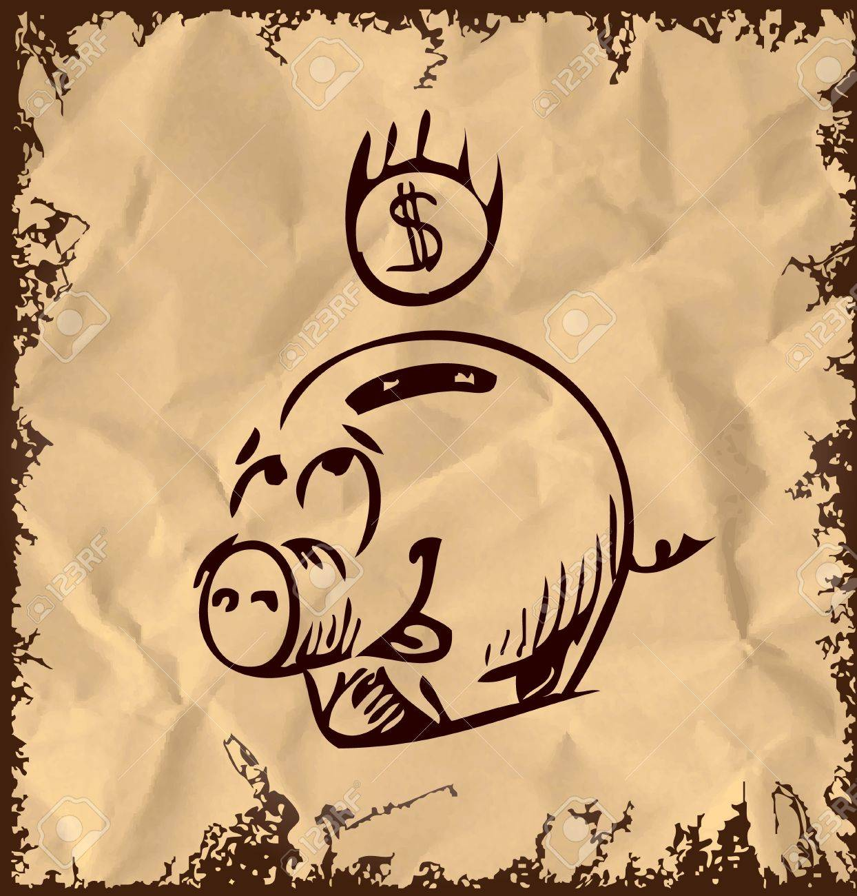 Money pig icon isolated on vintage background Stock Vector - 18447583