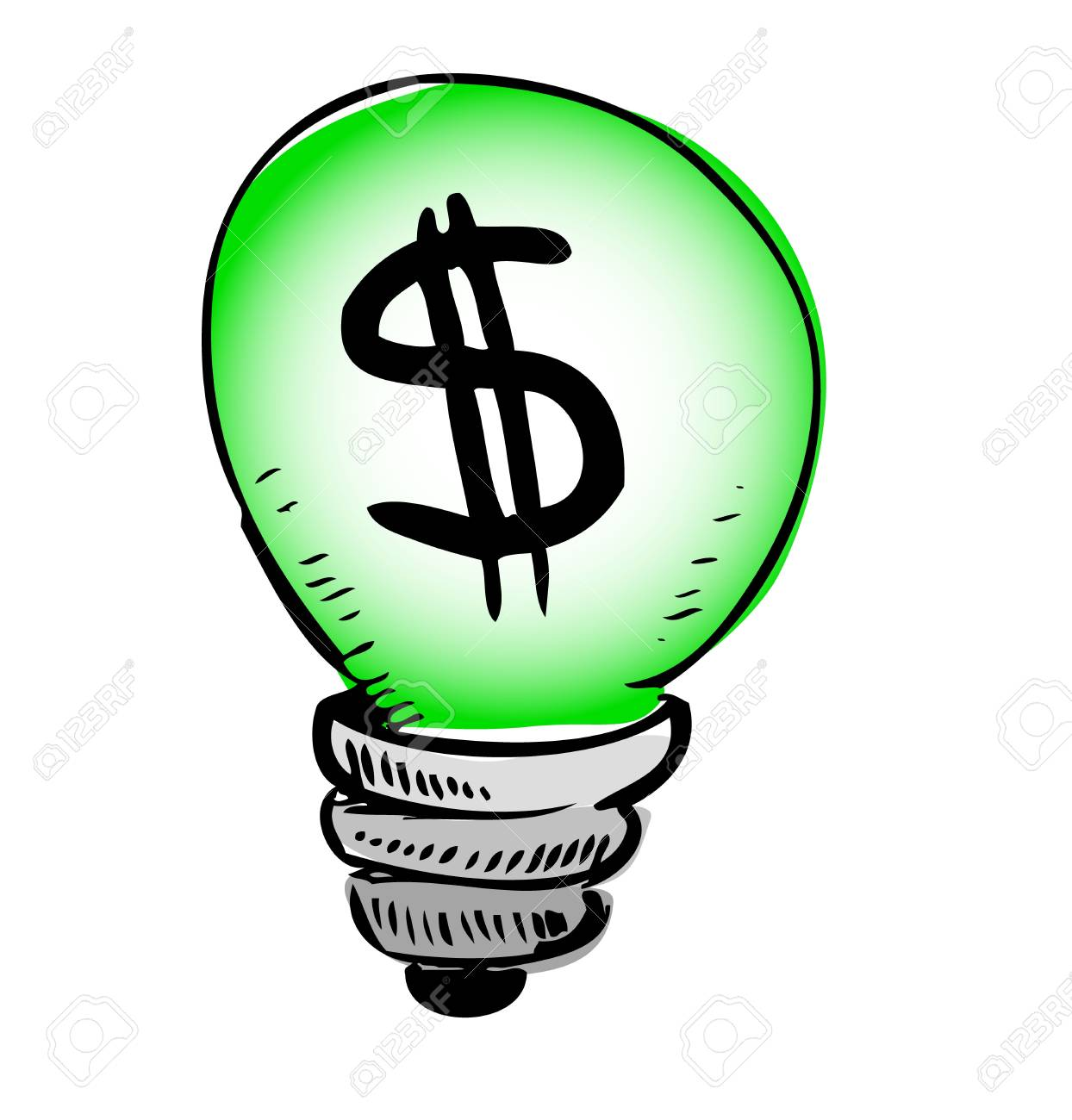 Green Light Bulb With Dollar Symbol Inside Royalty Free Cliparts