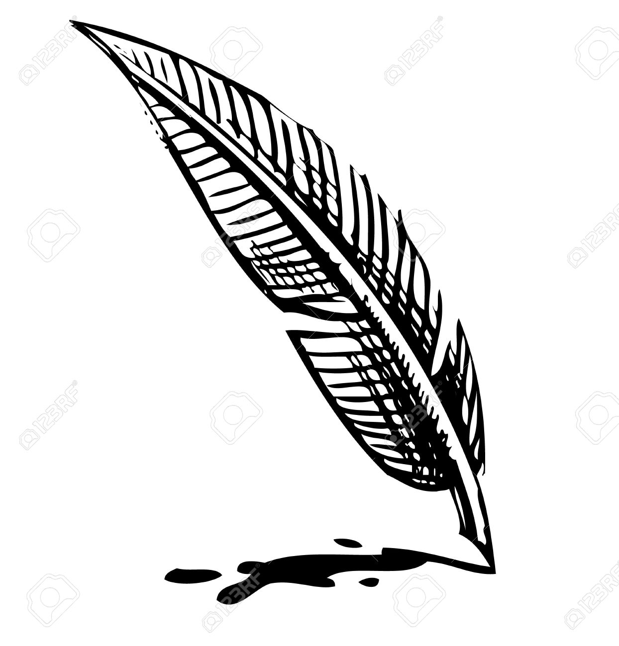 Writing quill with ink blot Stock Vector - 18447420