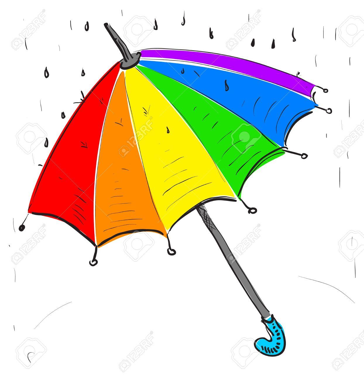 Rainbow umbrella under the rain Stock Vector - 18966901