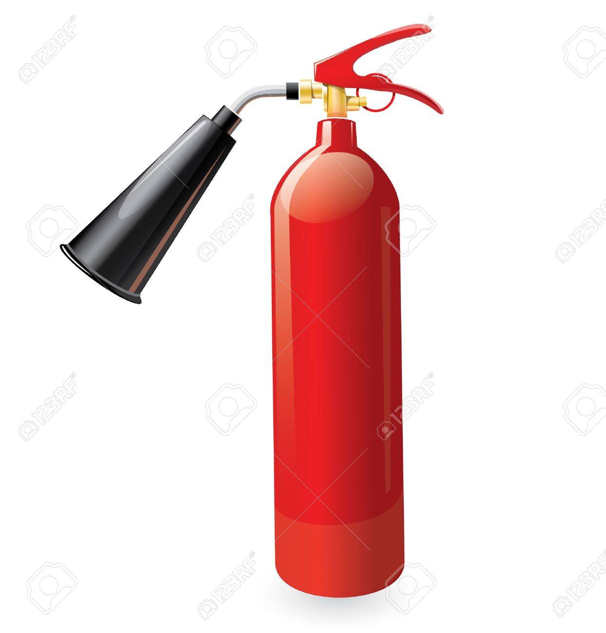 Red metal glossiness fire extinguisher Stock Vector - 19013347