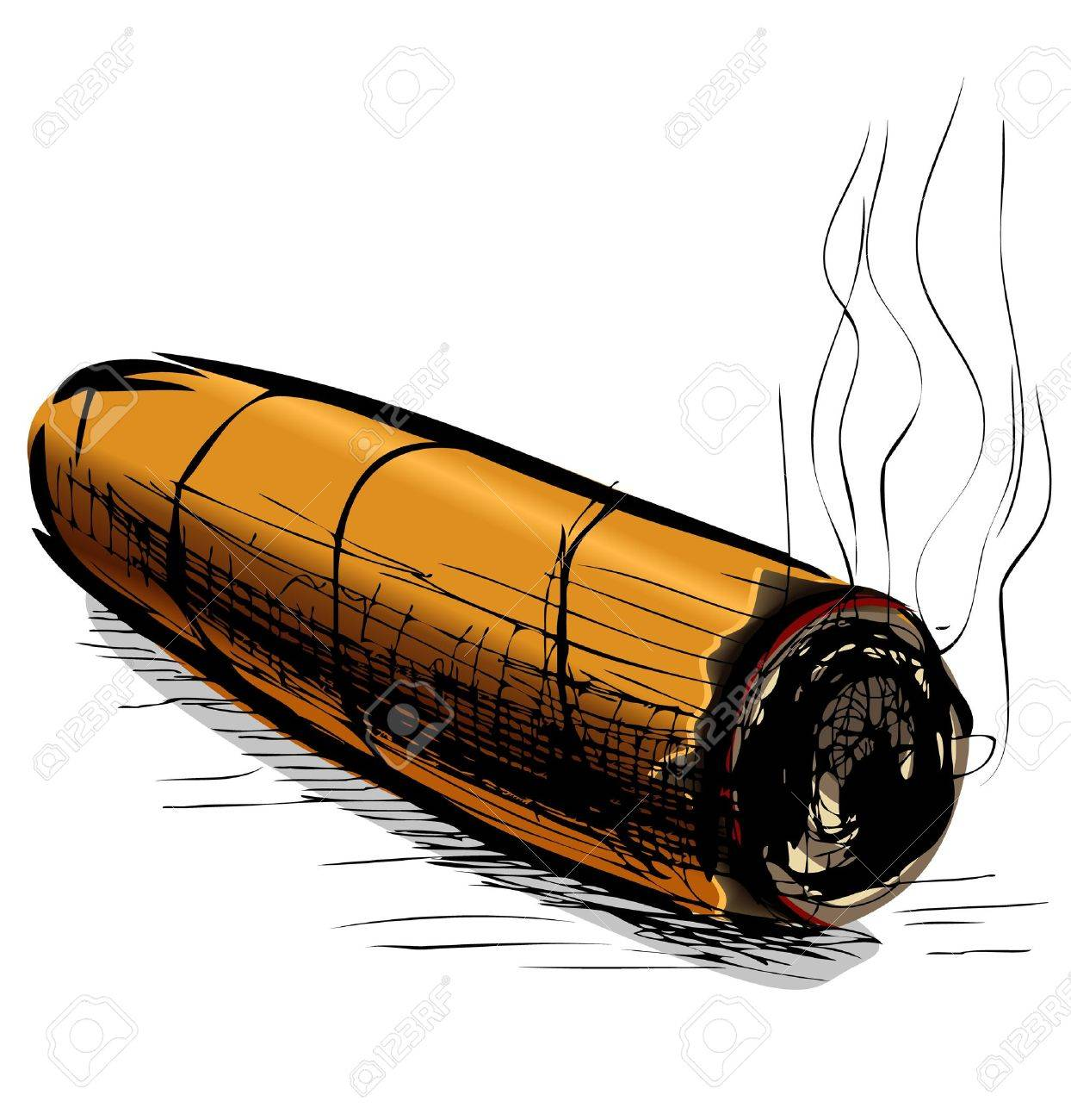 Lighting cigar sketch vector illustration Stock Vector - 19111382