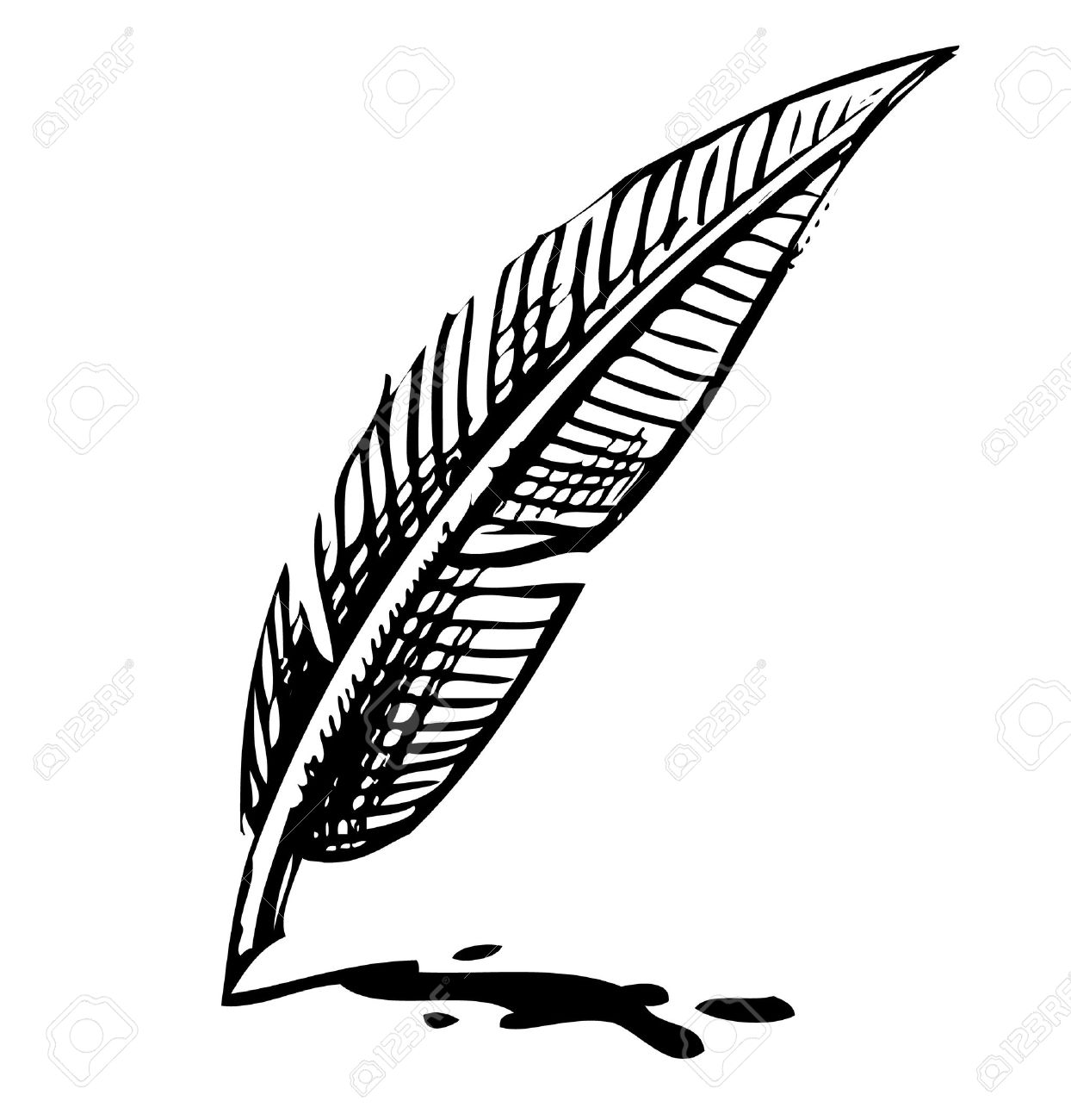 Writing quill with ink blot Stock Vector - 19449072