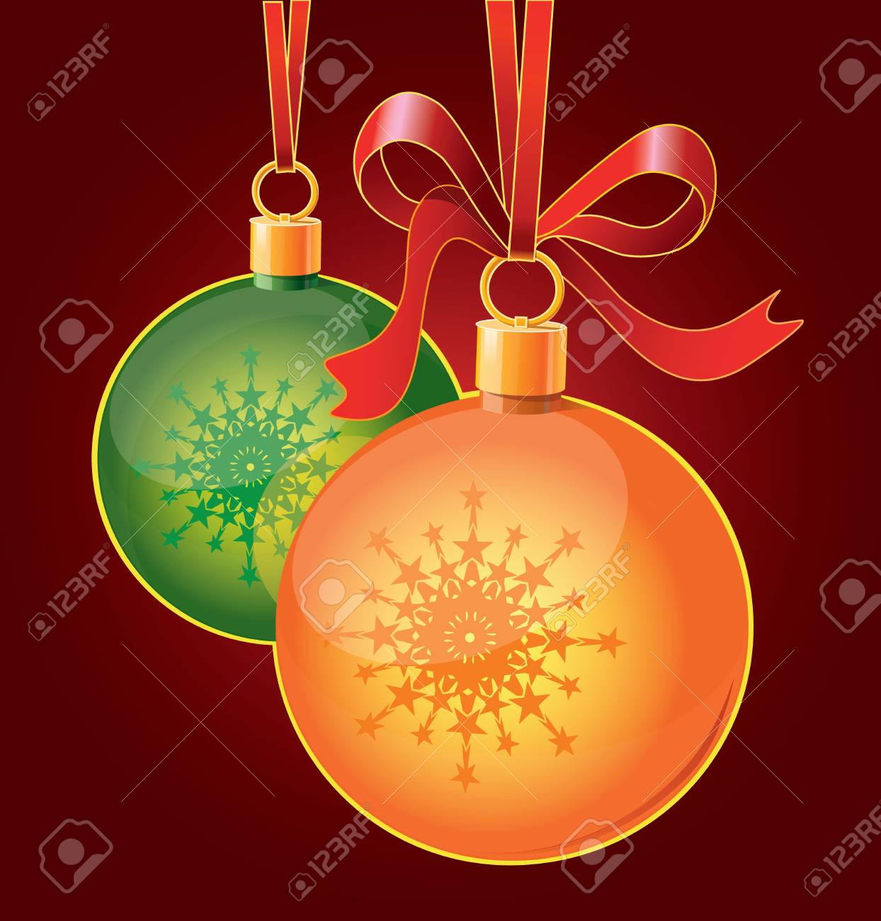 Christmas toy balls on ribbons Stock Vector - 19591928