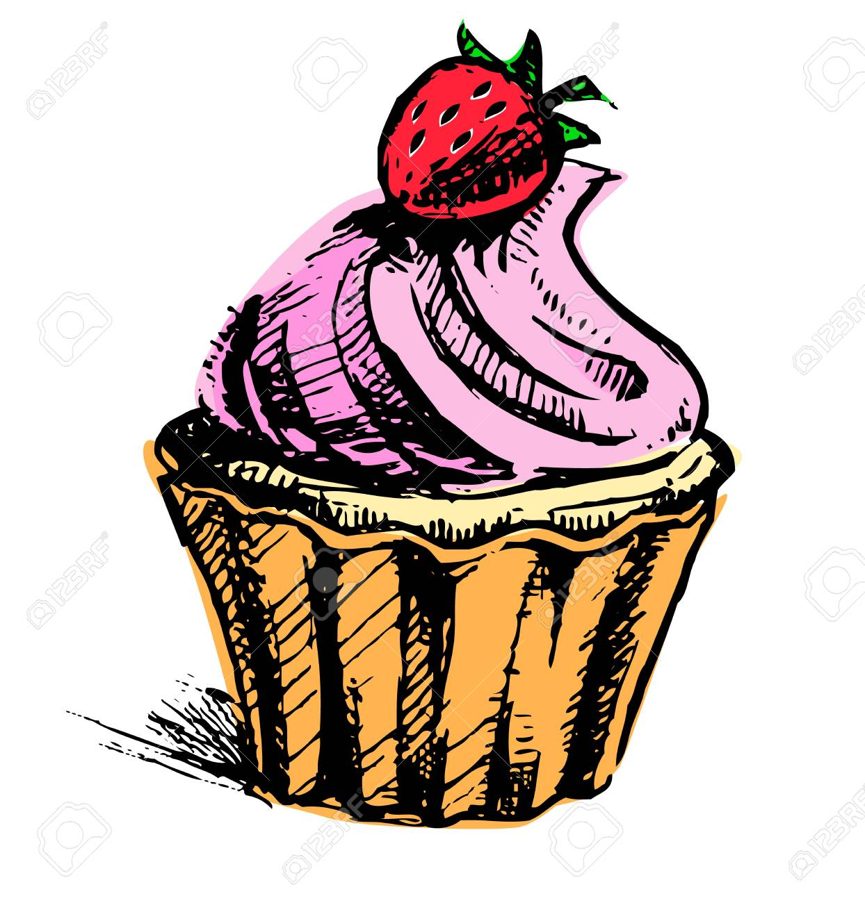 Creamy cup cake with delicious berry Stock Vector - 19897939