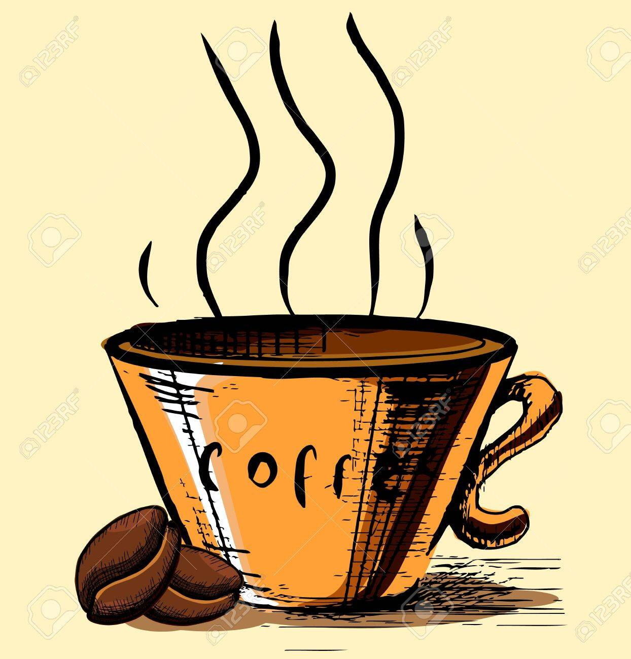 Cup with two coffee beans and hot steam Stock Vector - 19897798