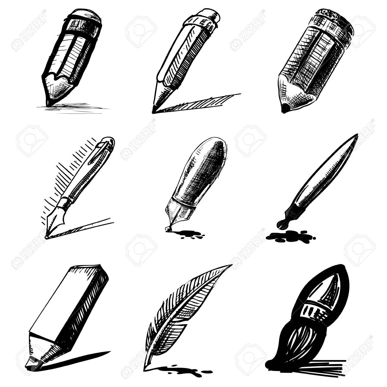 Pens and pencils collection Stock Vector - 20099901