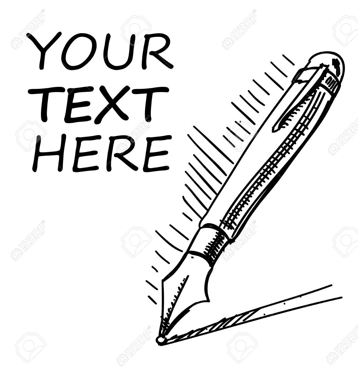 Ink pen with sample text Stock Vector - 20099873